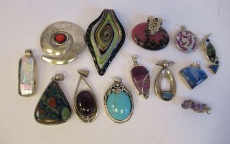 Silver and white metal costume jewellery, mainly brooches and pendants, some set with coloured