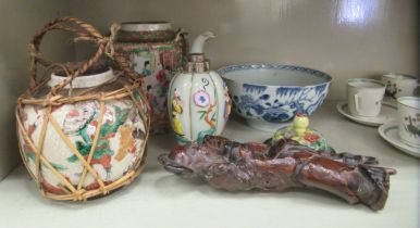 Oriental collectables: to include a Canton porcelain teapot; and an 18thC porcelain bowl,