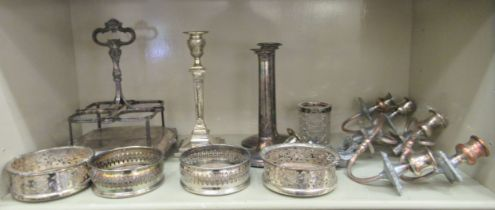 """Silver plated tableware: to include a four division cruet; and a candlestick 6""""h"""