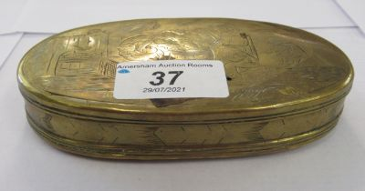 """An early 19thC (possibly Dutch) brass oval snuff box, decorated with a fishing village 5""""dia"""