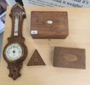 """19th & 20thC wooden collectables: to include a 1920s oak aneroid barometer 23""""h"""