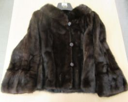 A 1930/40s two-tone black/brown mink box jacket with a silk lining