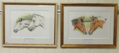 "Judith Ingram - two studies, horses watercolours bearing signatures & dated '03 17"" x 12"" framed"