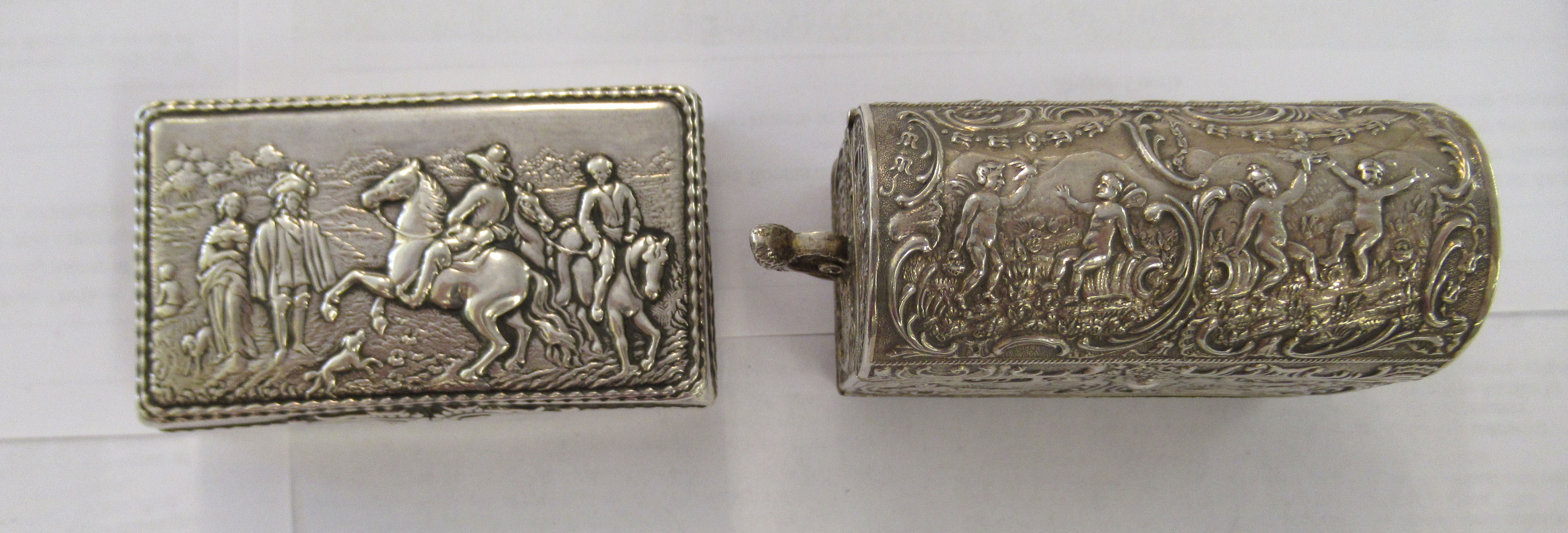 Two early 20thC Continental silver coloured metal items, viz. a domed twin handled, casket deign - Image 4 of 5