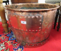 """A late 19thC copper log bin with riveted ornament 15""""h 20""""w"""