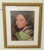 """20thC Continental School - a head and shoulders portrait, a young woman oil on board 17"""" x 14"""""""