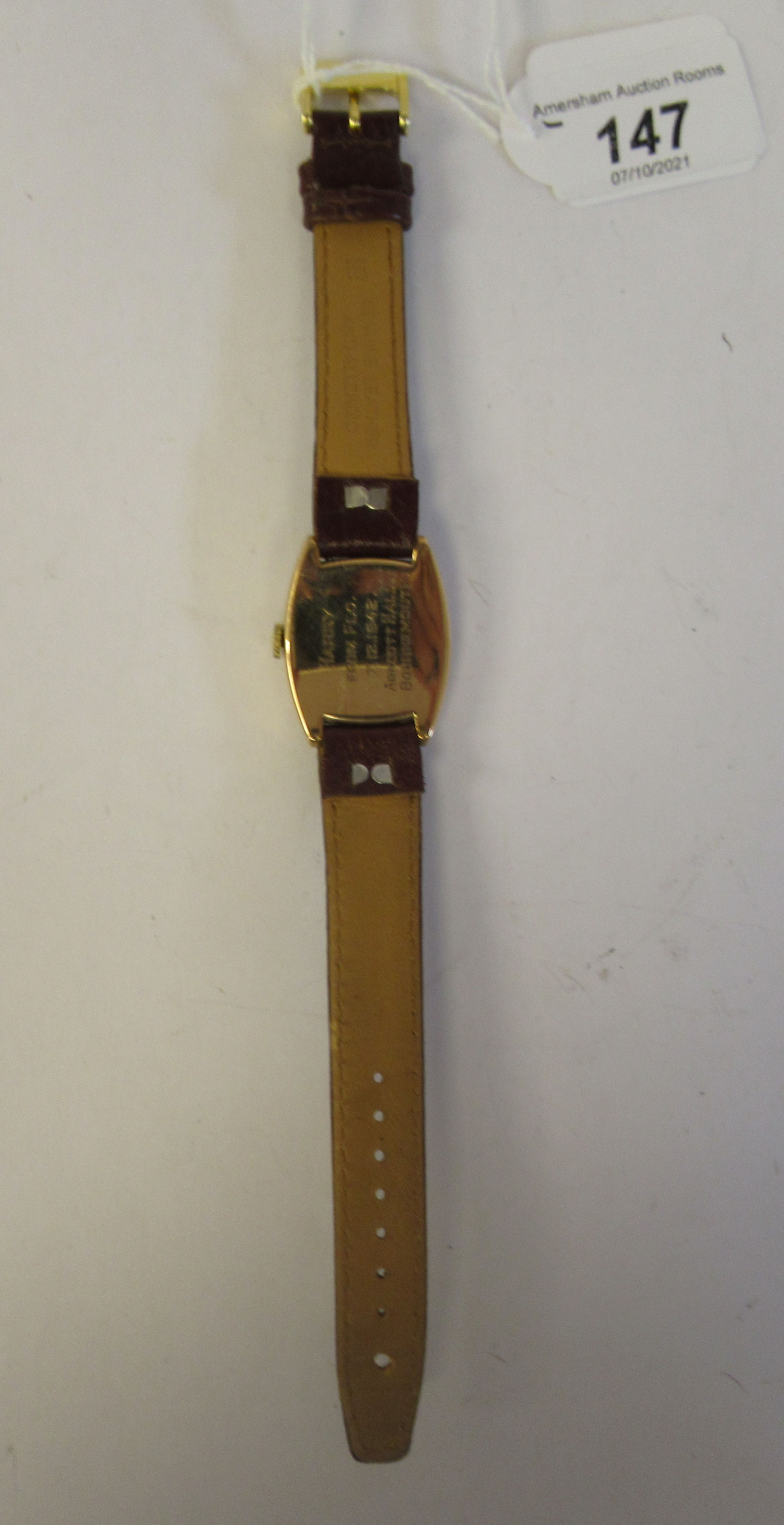 A 1942 Rolex 9ct gold cased wristwatch, faced by an engine turned Arabic dial,incorporating - Image 4 of 4
