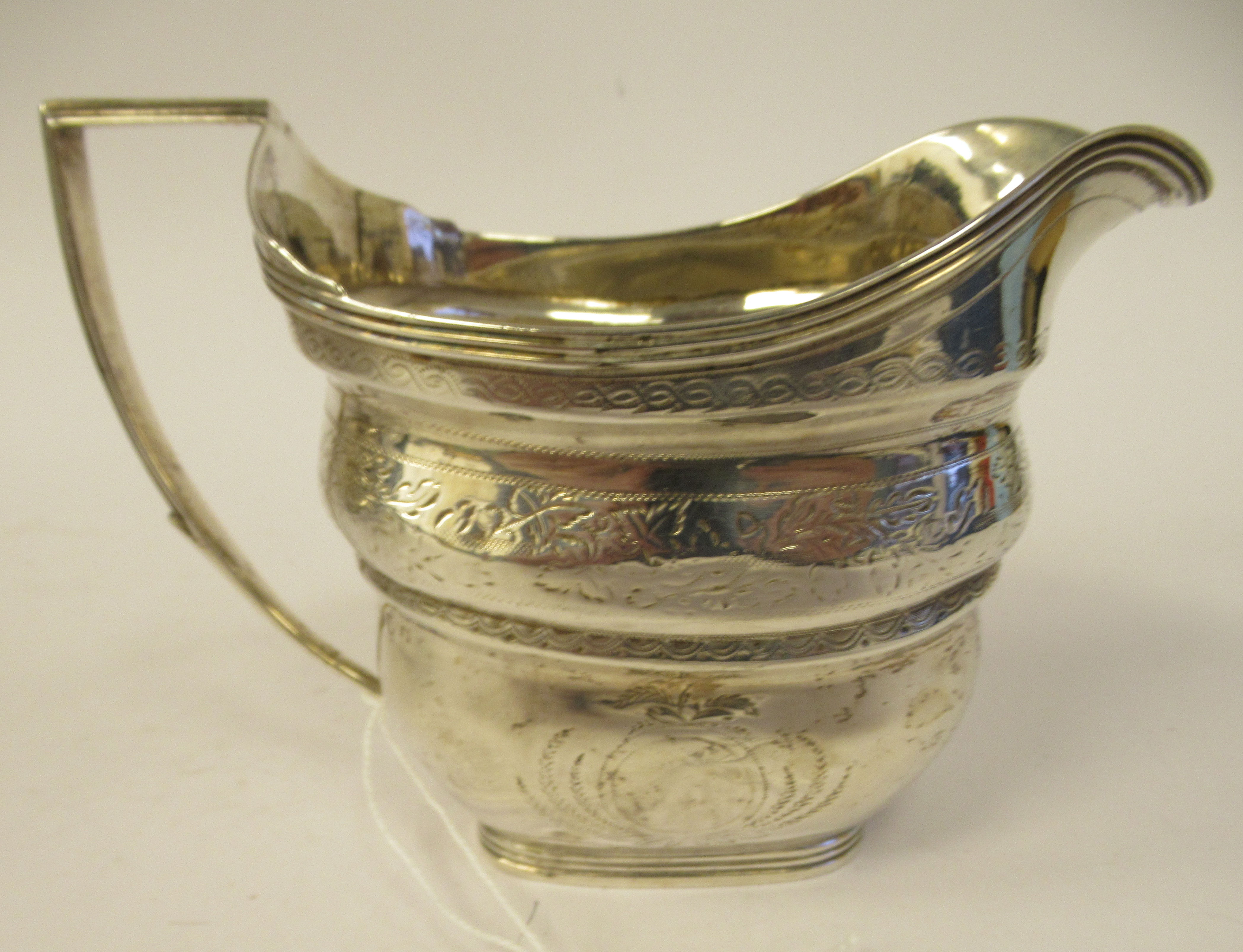 A late 18th/early 19thC silver cream jug of stepped and tapered rectangular outline with bands of - Image 3 of 7