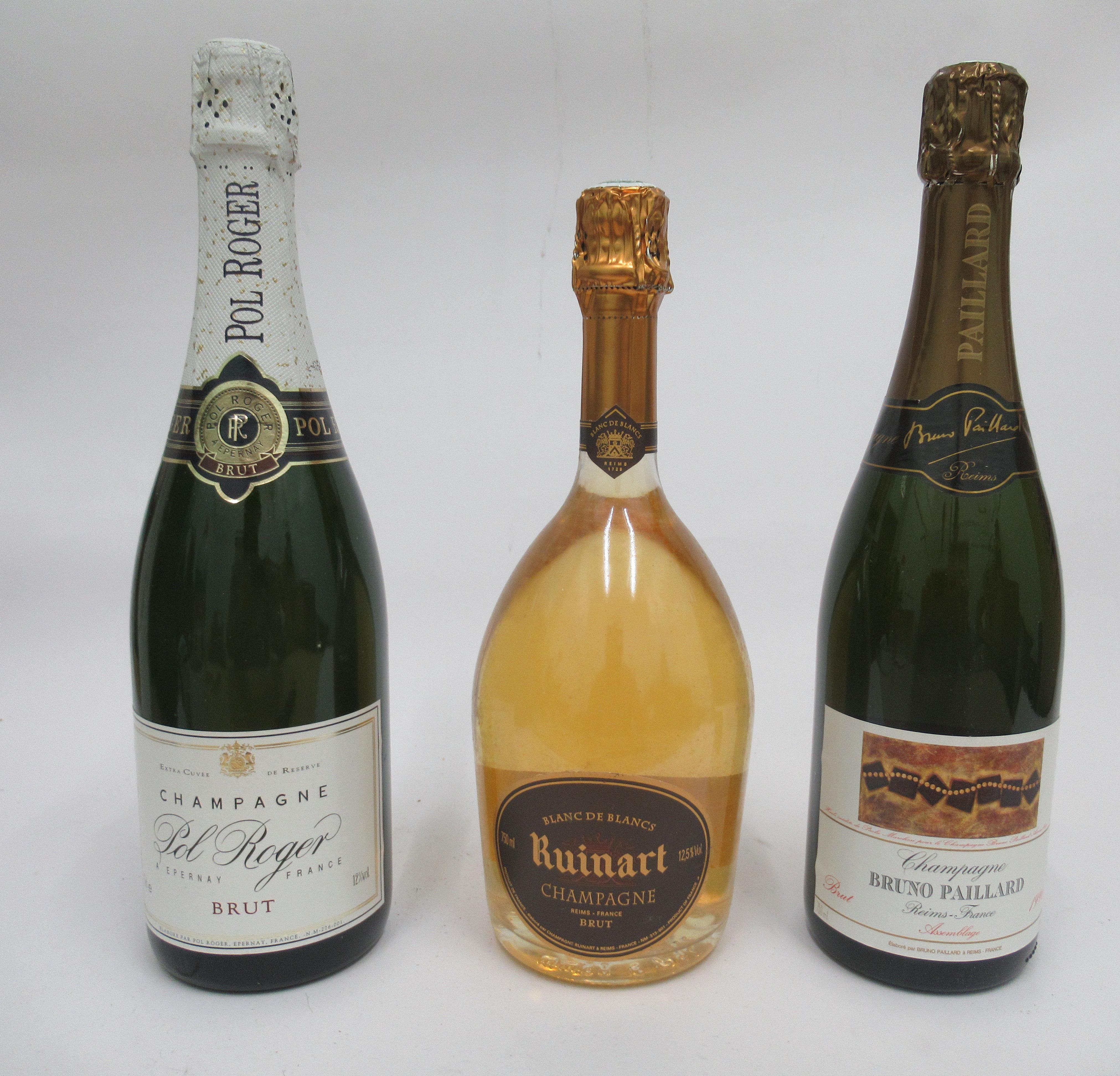 Wine, Champagne, viz. a Pol Roger; a Ruinart Blanc de Blancs; and a 1996 Bruno Paillard each boxed - Image 2 of 6