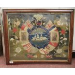 A mid Victorian sailor's woolwork picture, featuring printed vignette portraits of HRH Princess