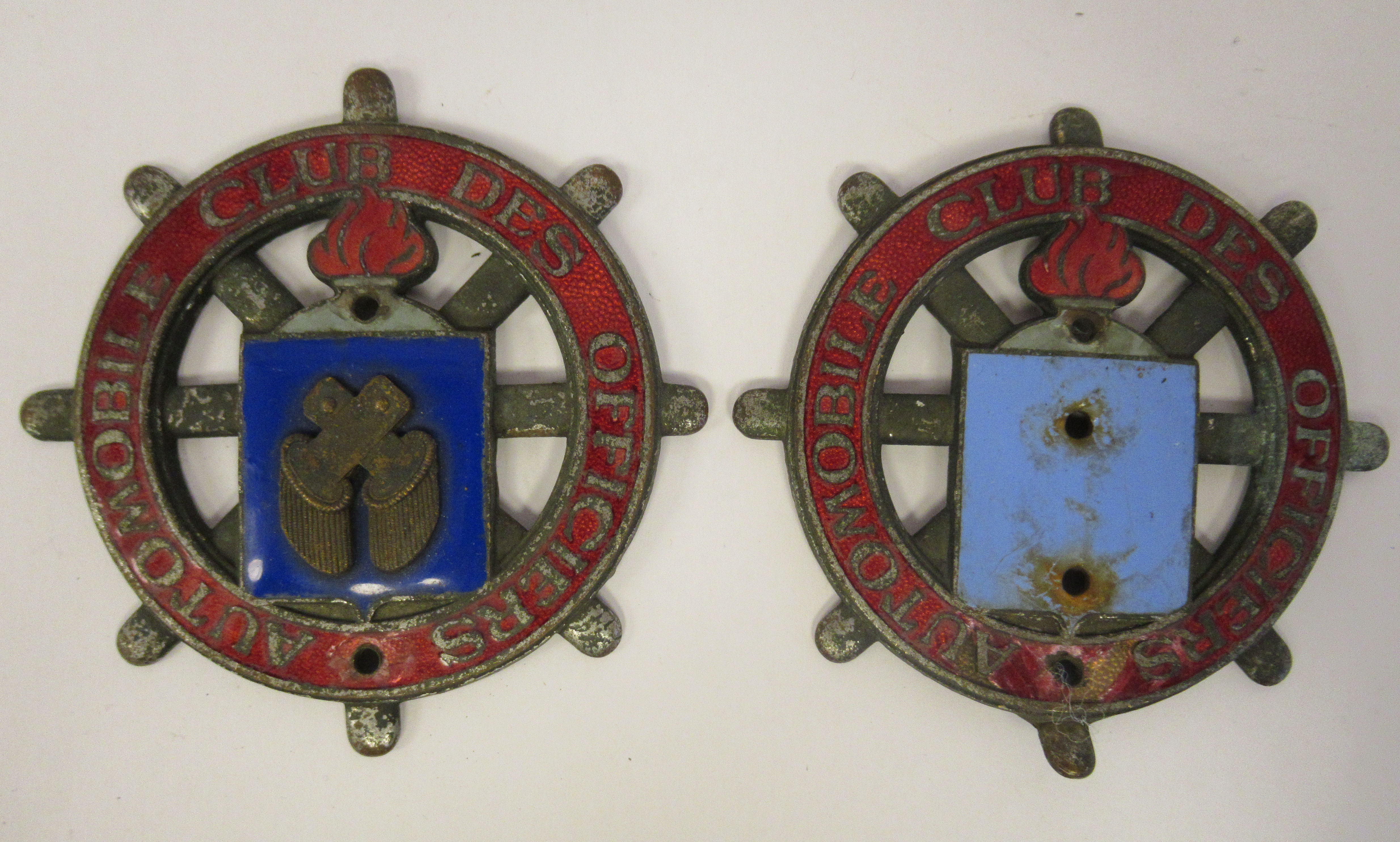 Five early 20thC Continental European coloured enamel motoring related badges; and a car mascot - Image 4 of 7