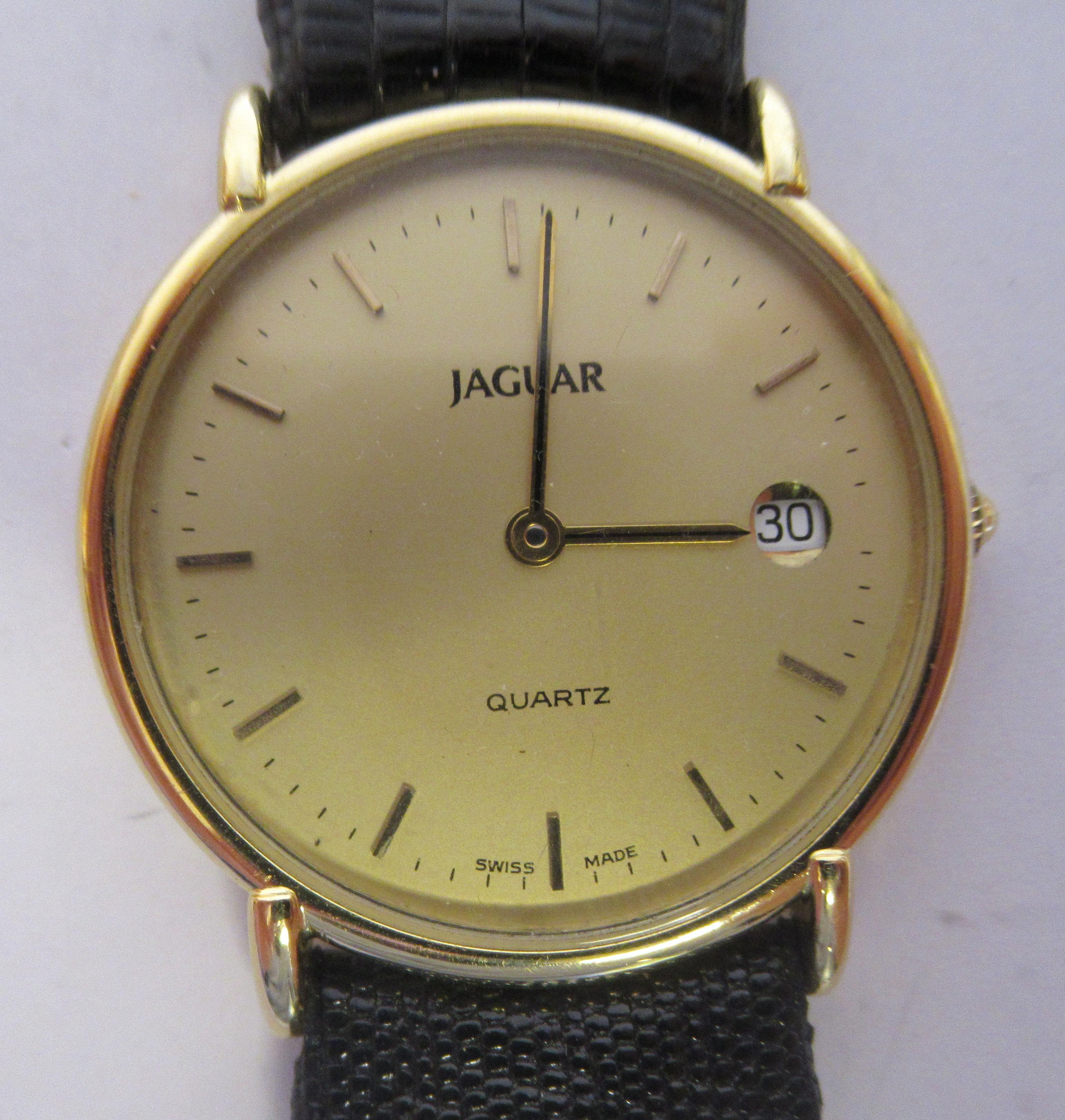 A 1980s Jaguar 18ct gold cased model J505CH quartz wristwatch (cal ETA 955-54) faced by a baton