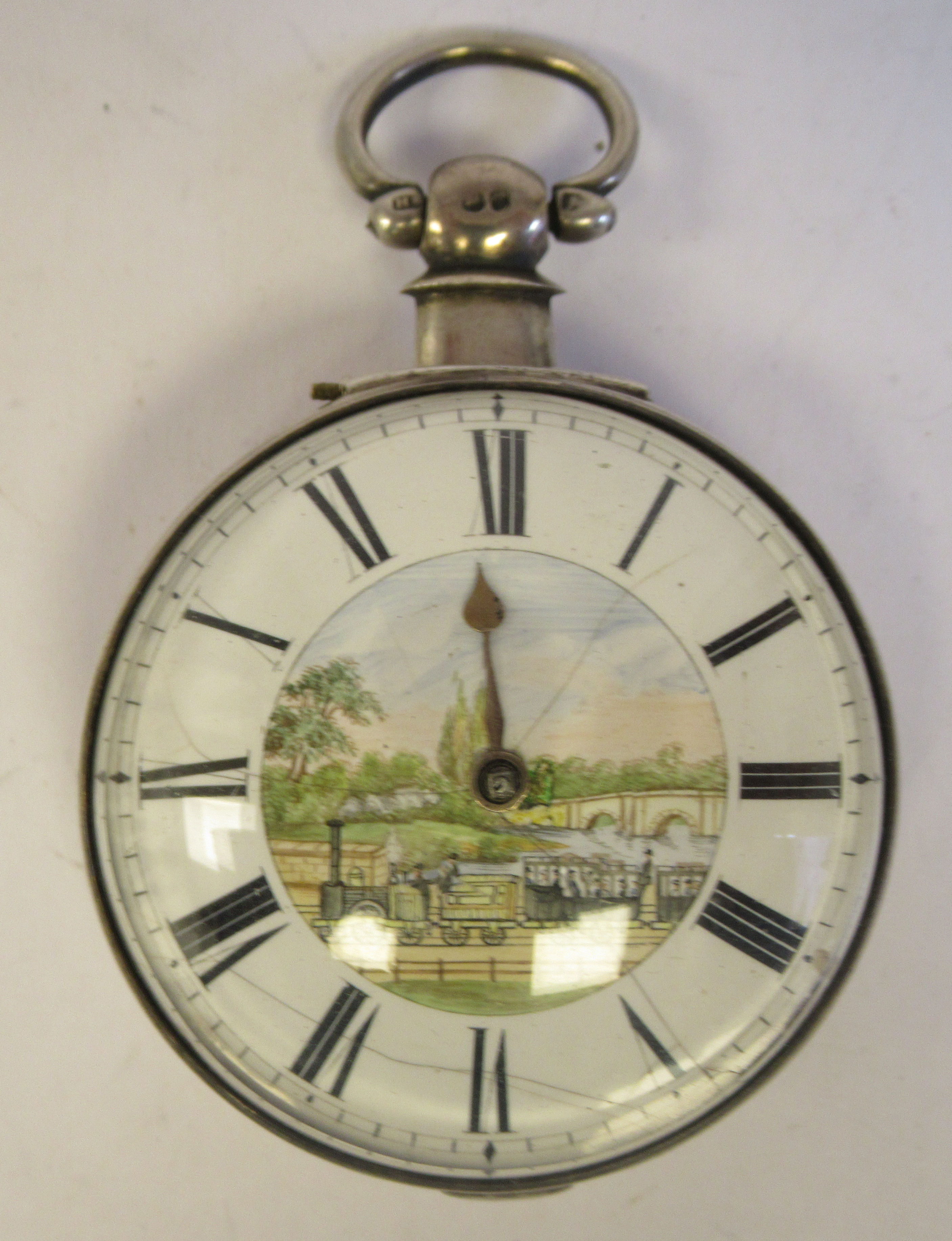 A mid 18thC silver pair cased pocket watch, the fusee movement faced by a white enamel Roman dial, - Image 2 of 7