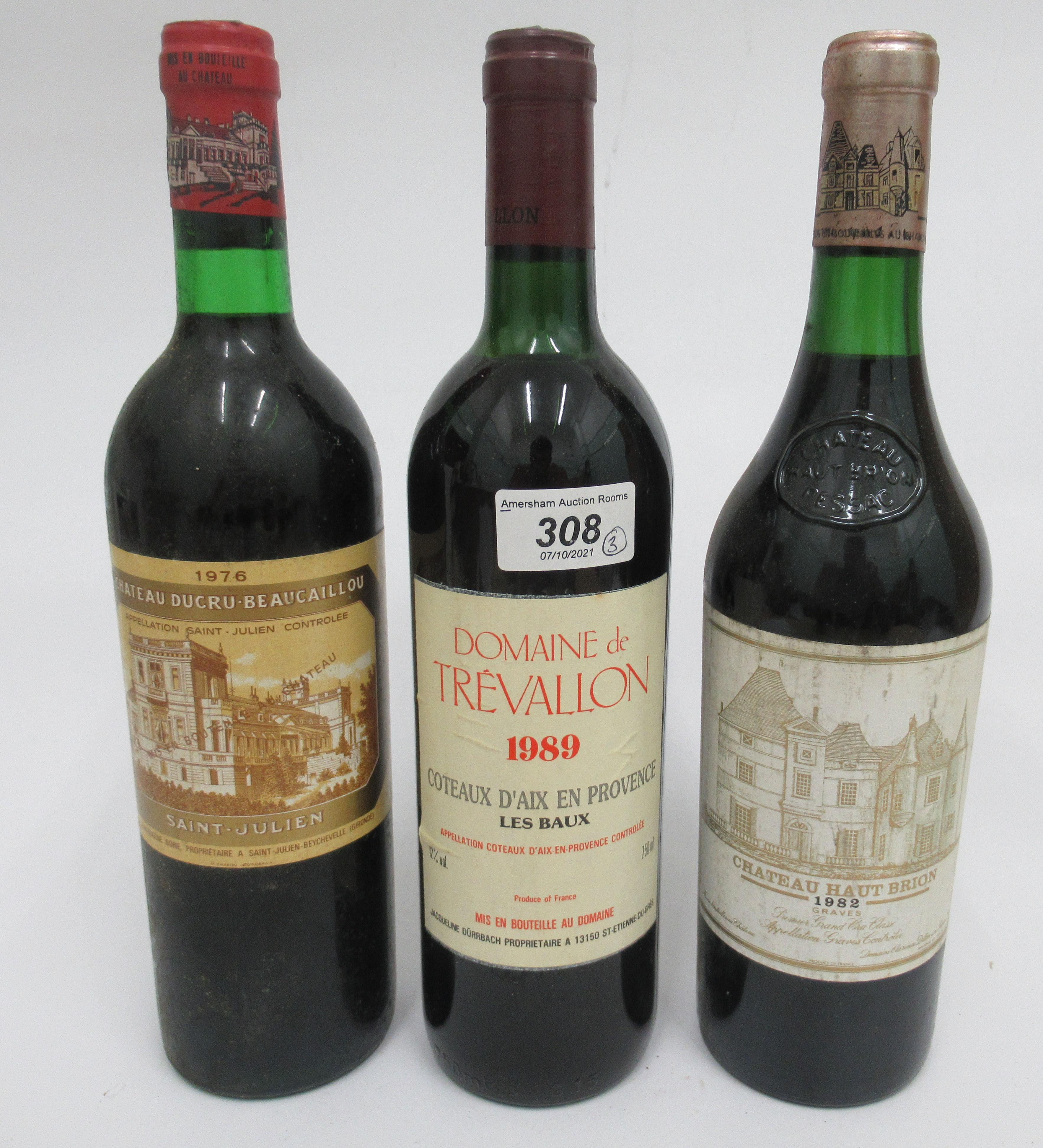 Wine, viz. a 1976 Chateau Ducru Beaucaillou; a 1989 Domaine de Trevelin; and a 1982 Chateau Haut-