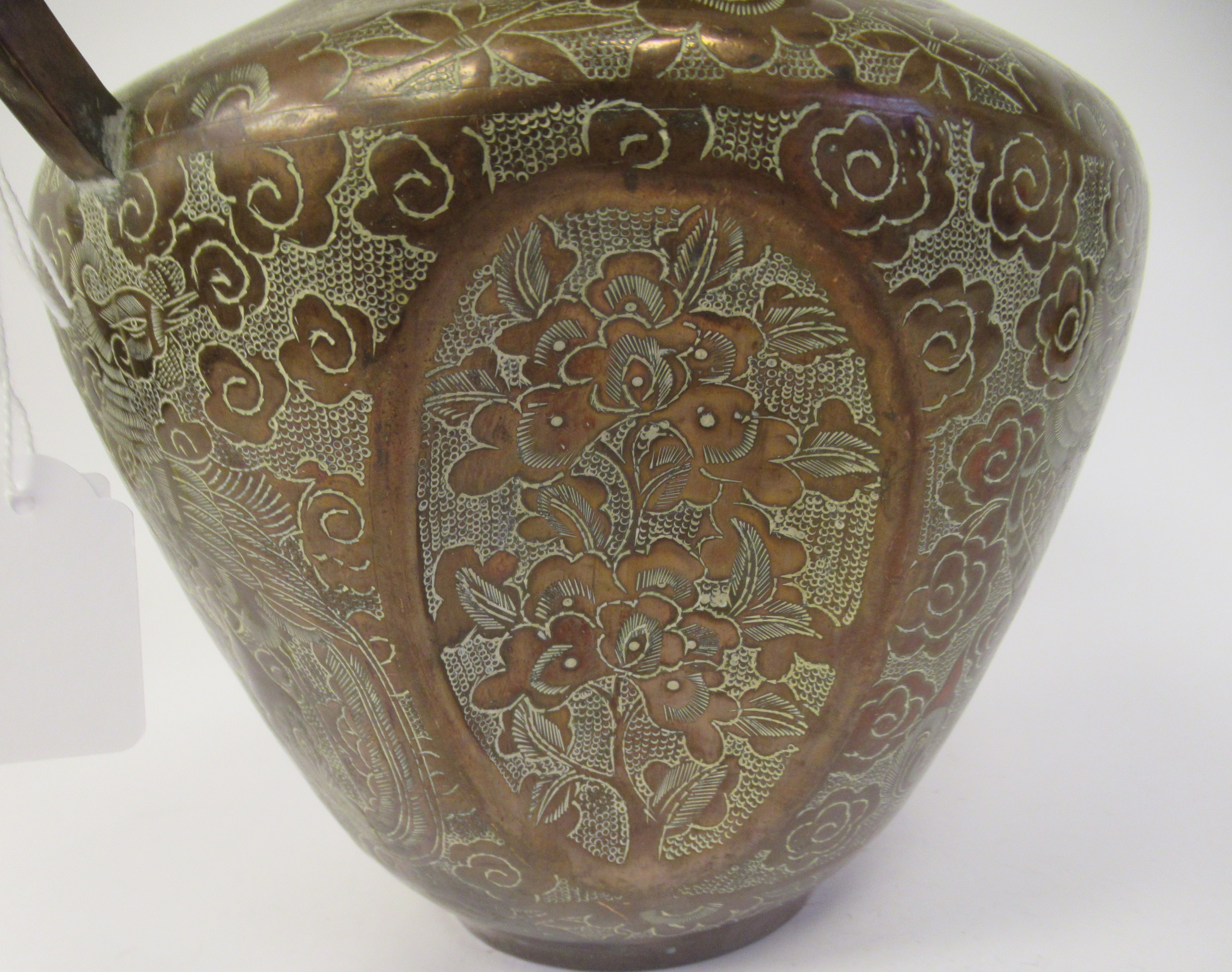 A late 19th/early 20thC Chinese copper vase of shouldered and dimpled baluster form, having a narrow - Image 8 of 9