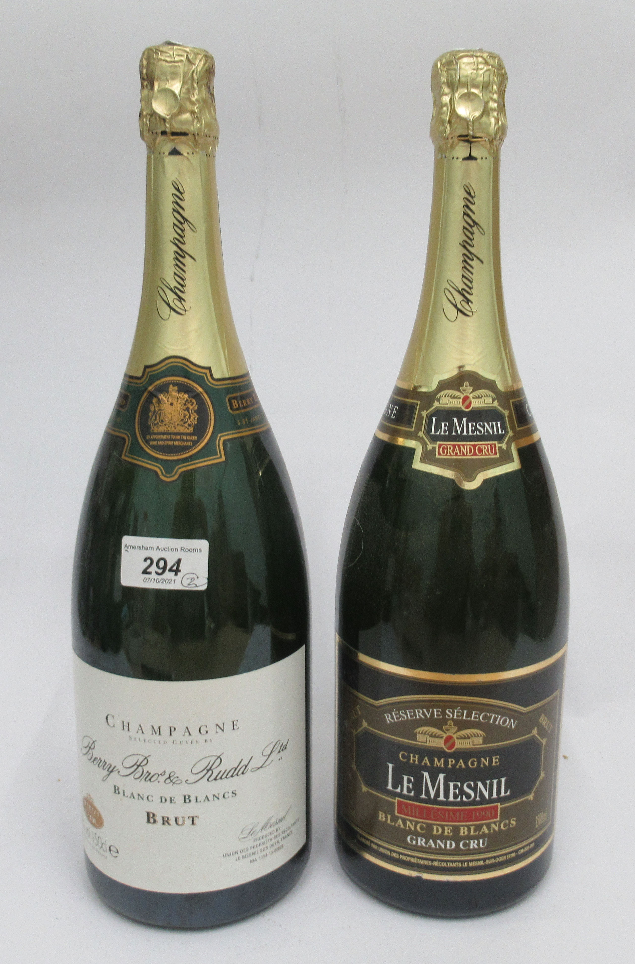 Wine, two Magnums of Champagne, viz. a Berry Bothers & Rudd; and a Le Mesnil Grand Cru