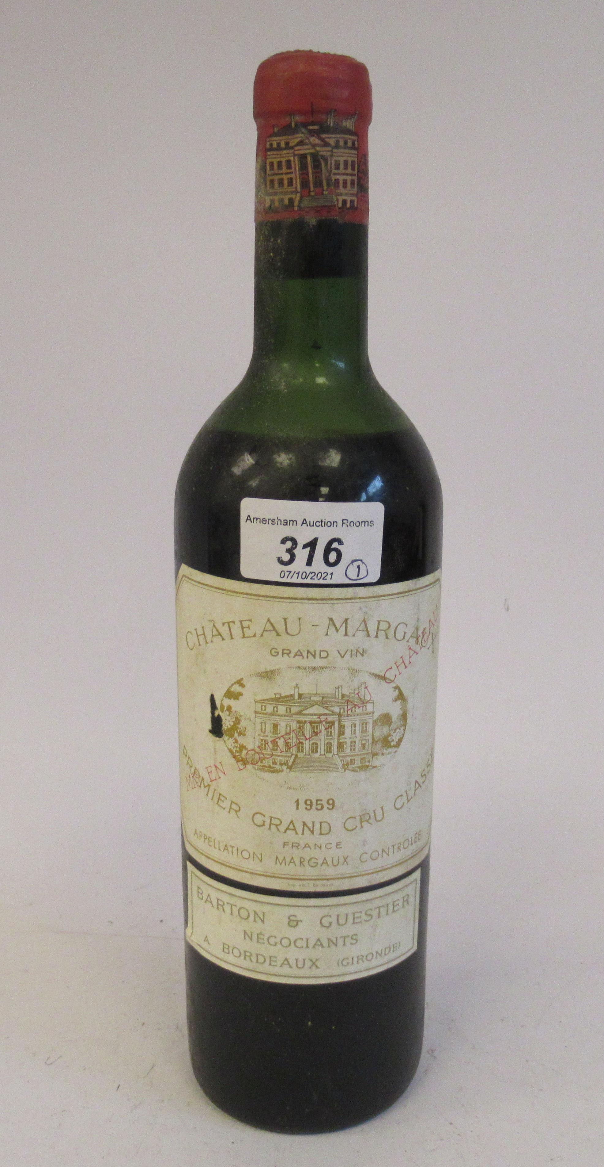 Wine, a bottle of 1959 Chateau Margaux Premier Grand Cru