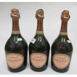 Wine, three bottles of Laurent Perrier Cuvee Rose Brut Champagne