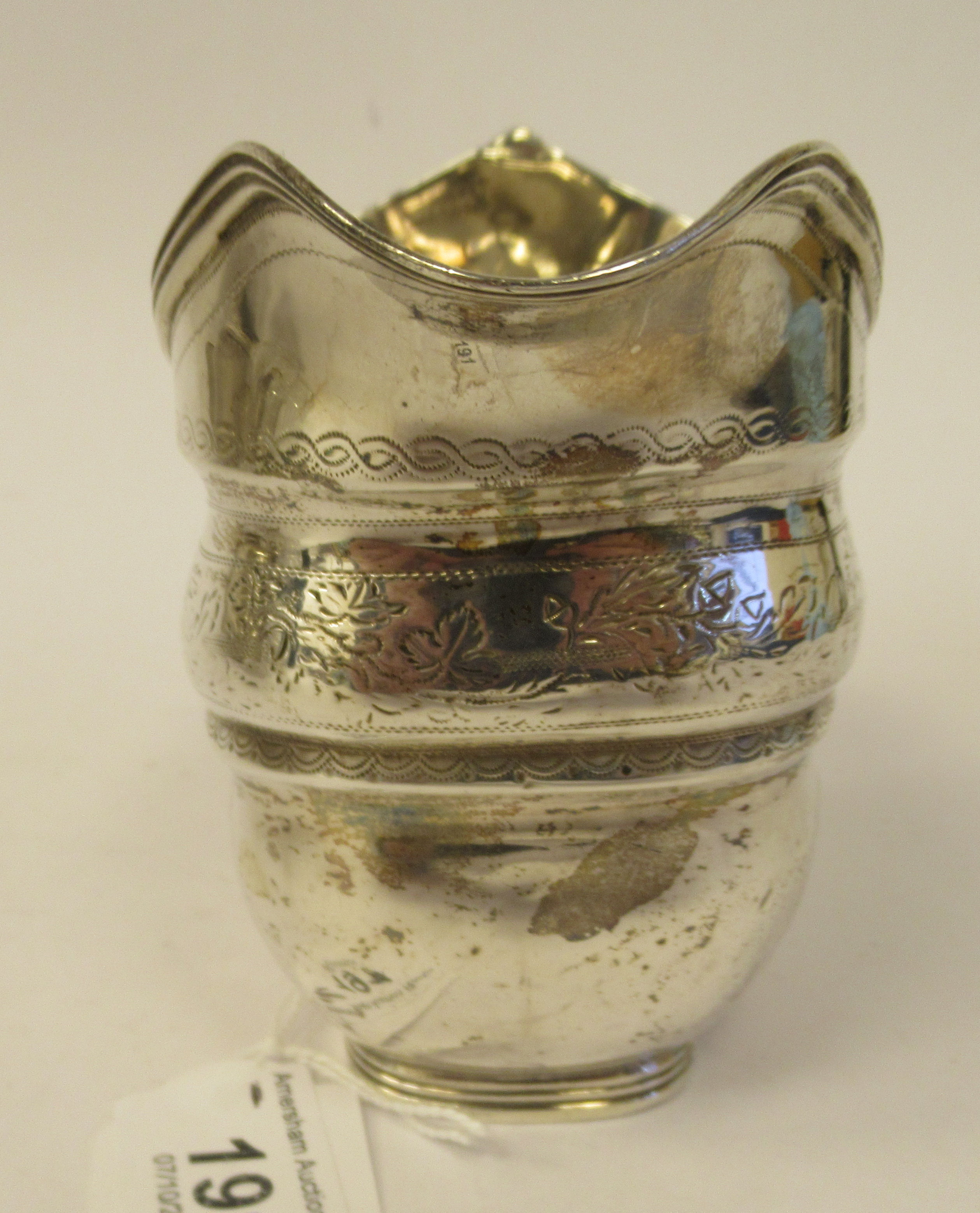 A late 18th/early 19thC silver cream jug of stepped and tapered rectangular outline with bands of - Image 4 of 7