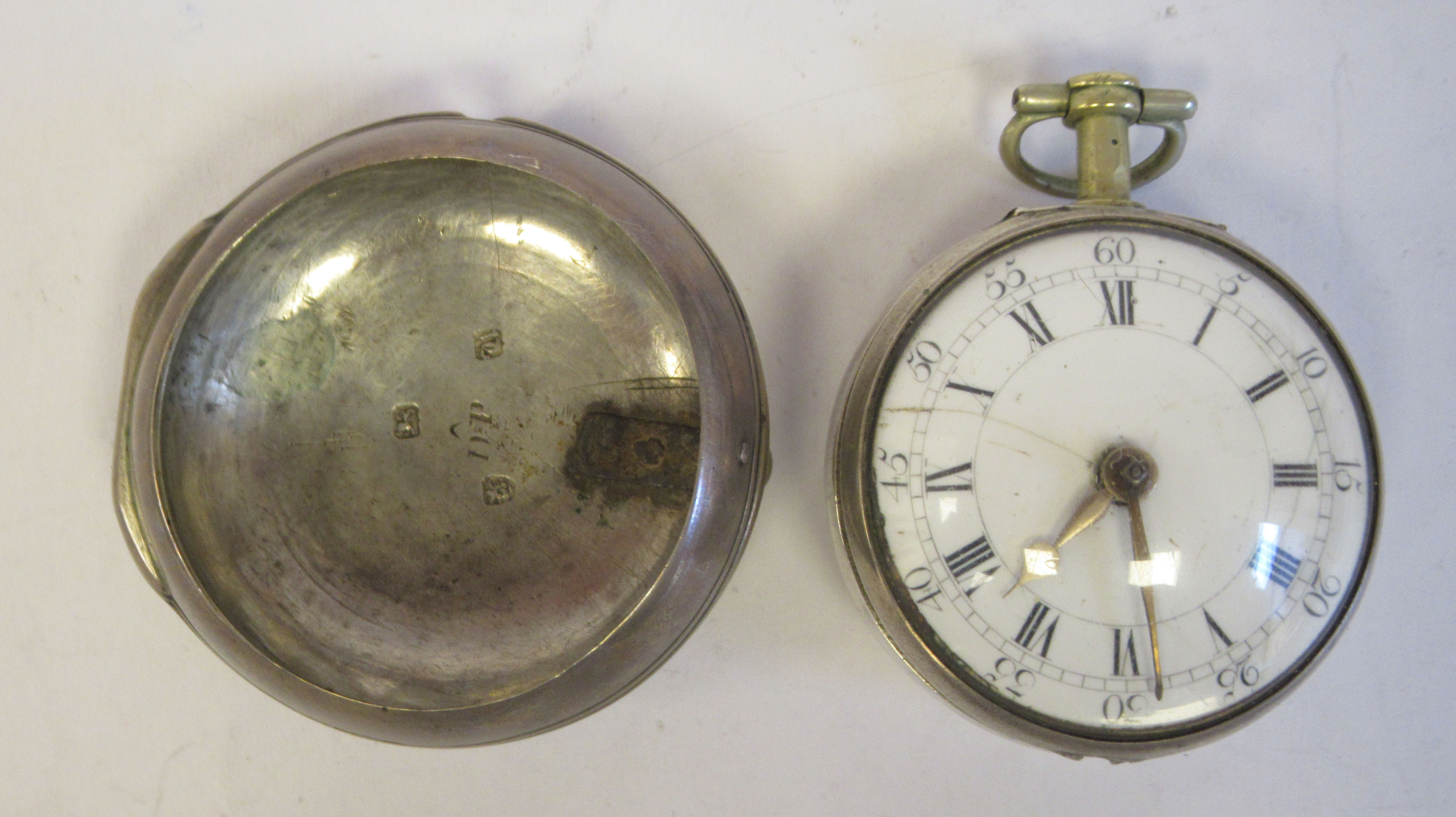 A late 18th silver pair cased pocket watch, the fusee movement inscribed John Grig, faced by a white - Image 2 of 5