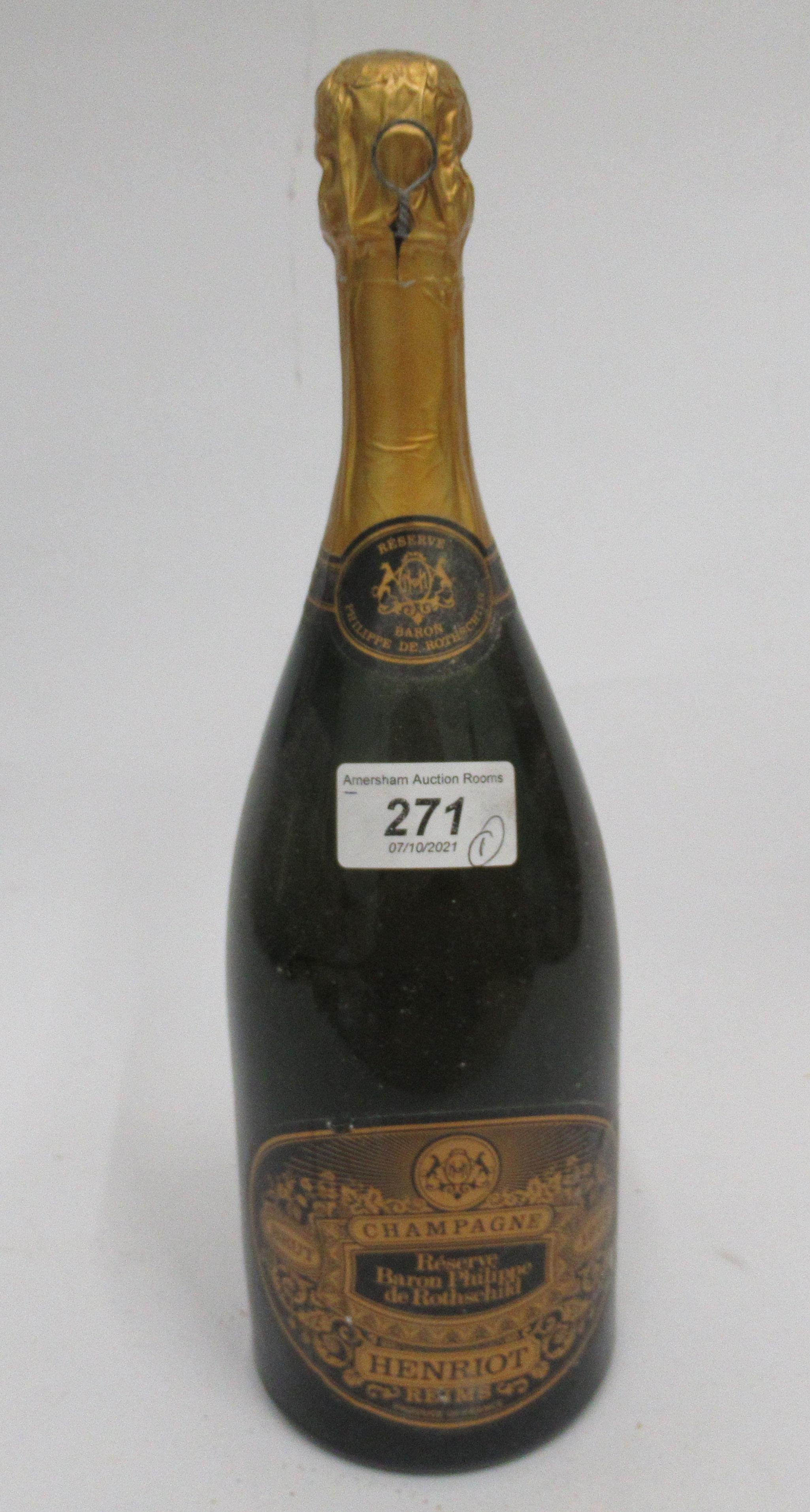 Wine, a bottle of 1973 Henriot Reserve Baron Philippe de Rothschild Champagne