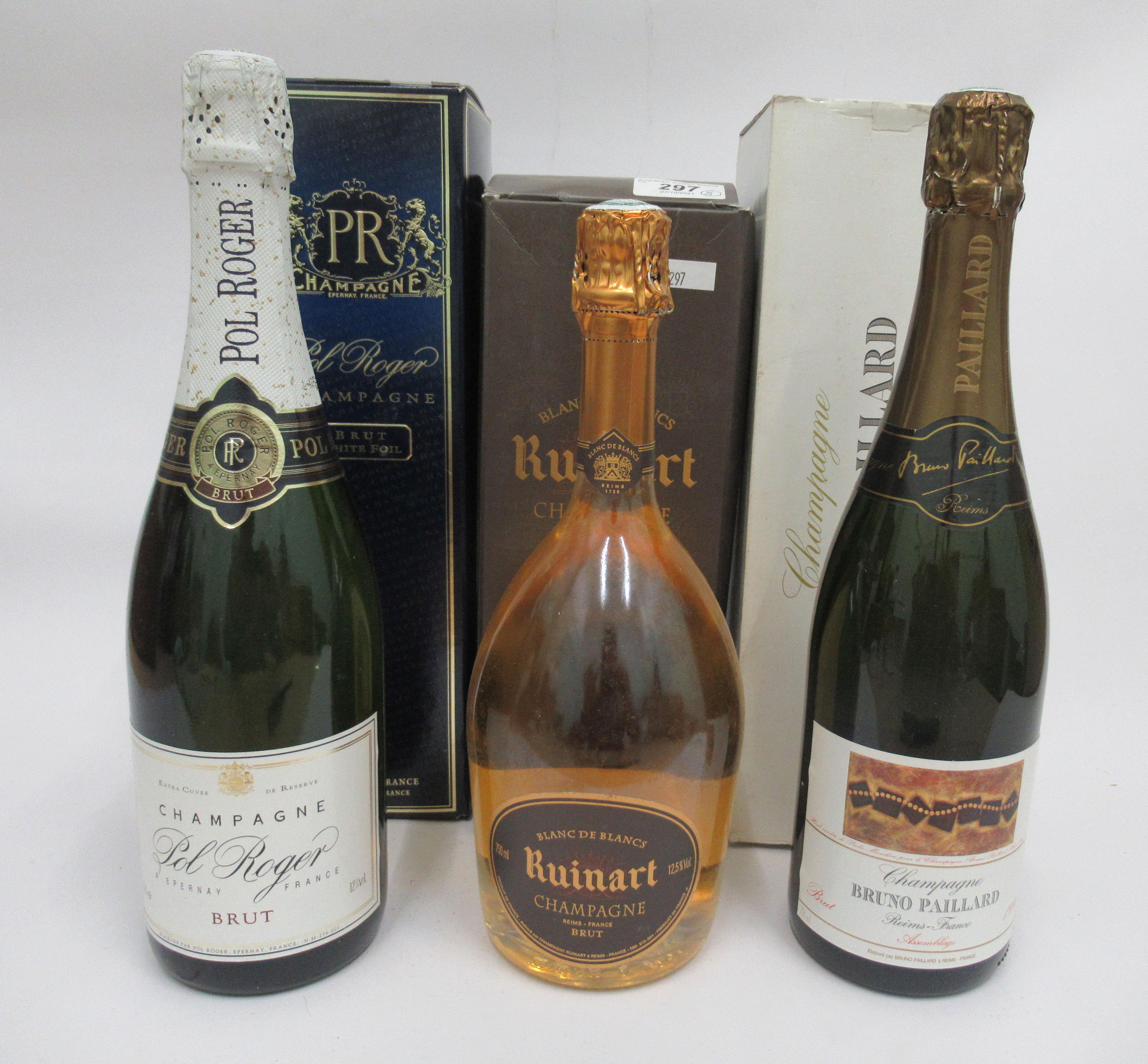 Wine, Champagne, viz. a Pol Roger; a Ruinart Blanc de Blancs; and a 1996 Bruno Paillard each boxed