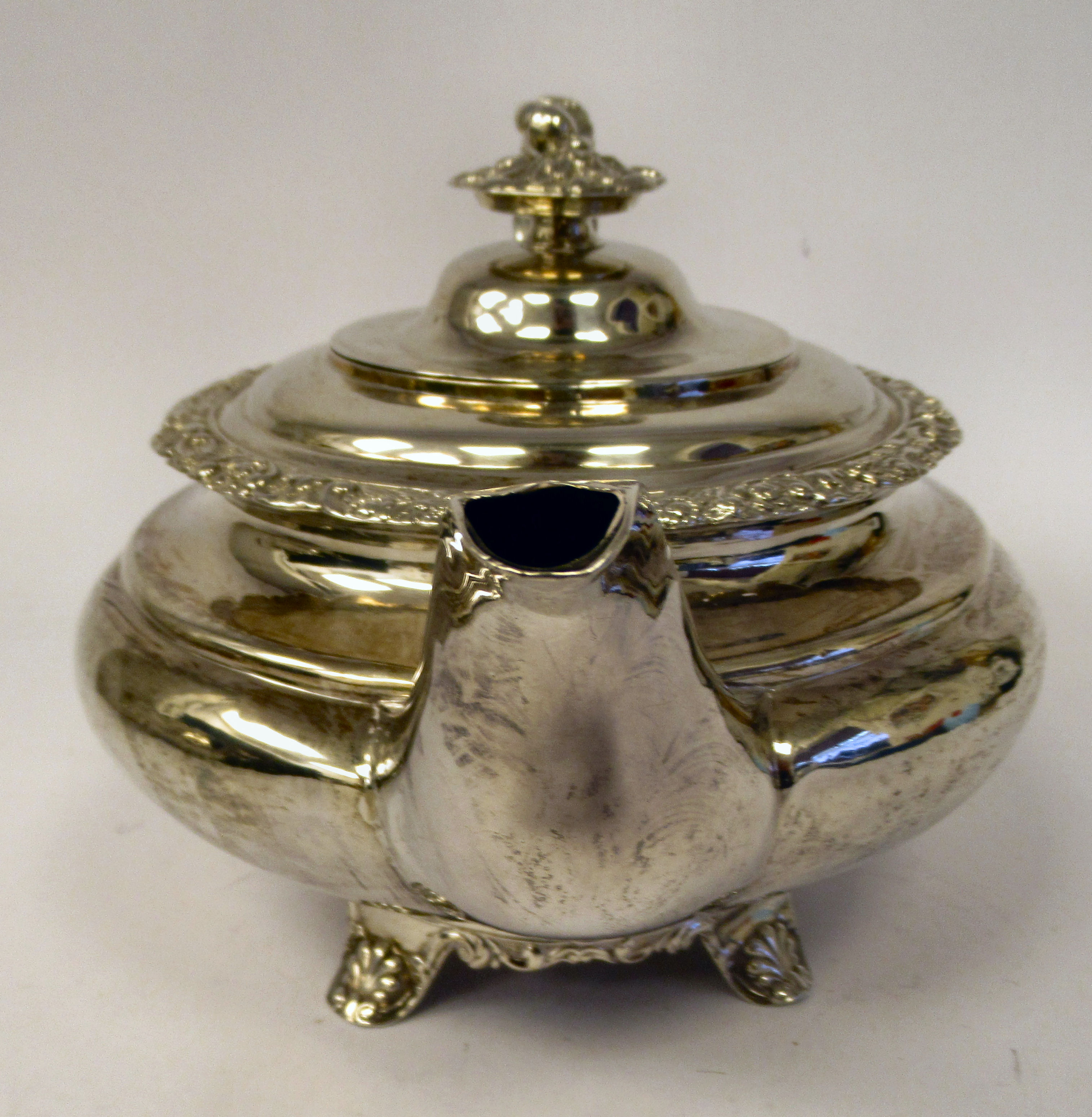 A George III silver teapot of demi-reeded squat, bulbous, oval form with gadrooned and cast - Image 4 of 7