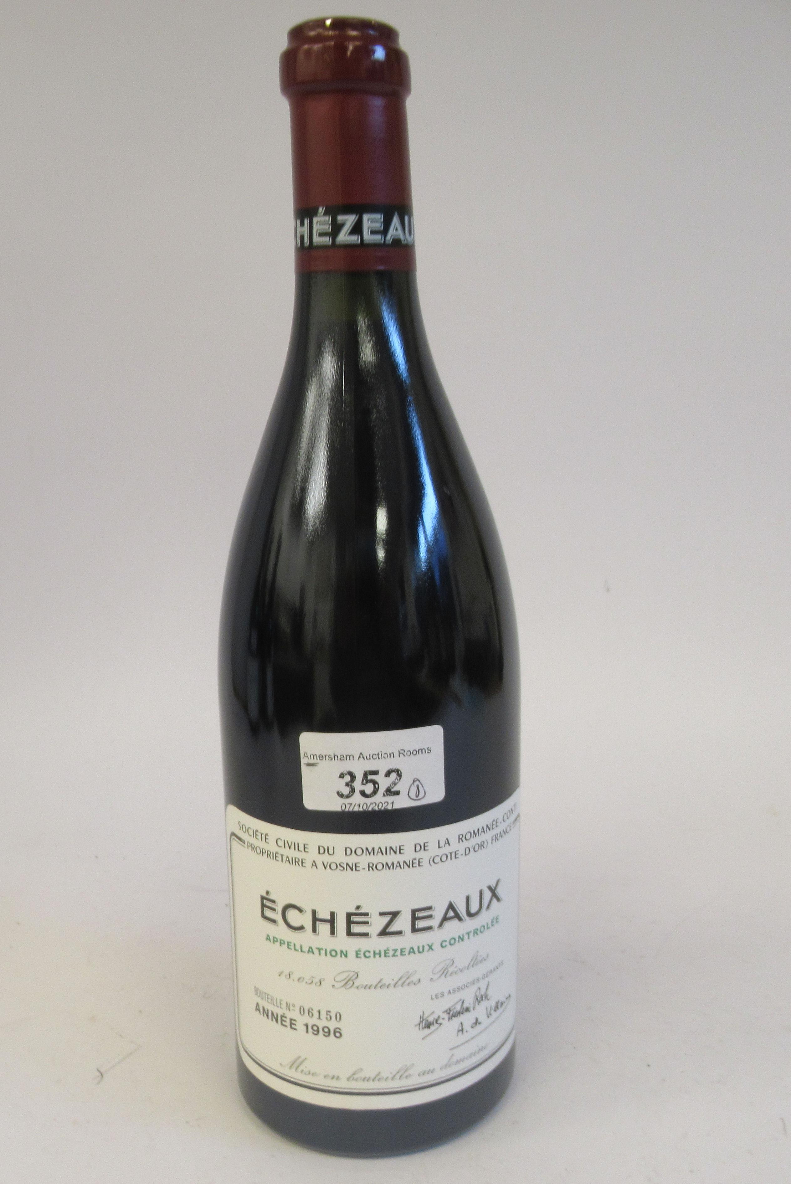 Wine, a bottle of 1996 Echezeaux Domaine De La Romanee-Conti (bottle number 06150)