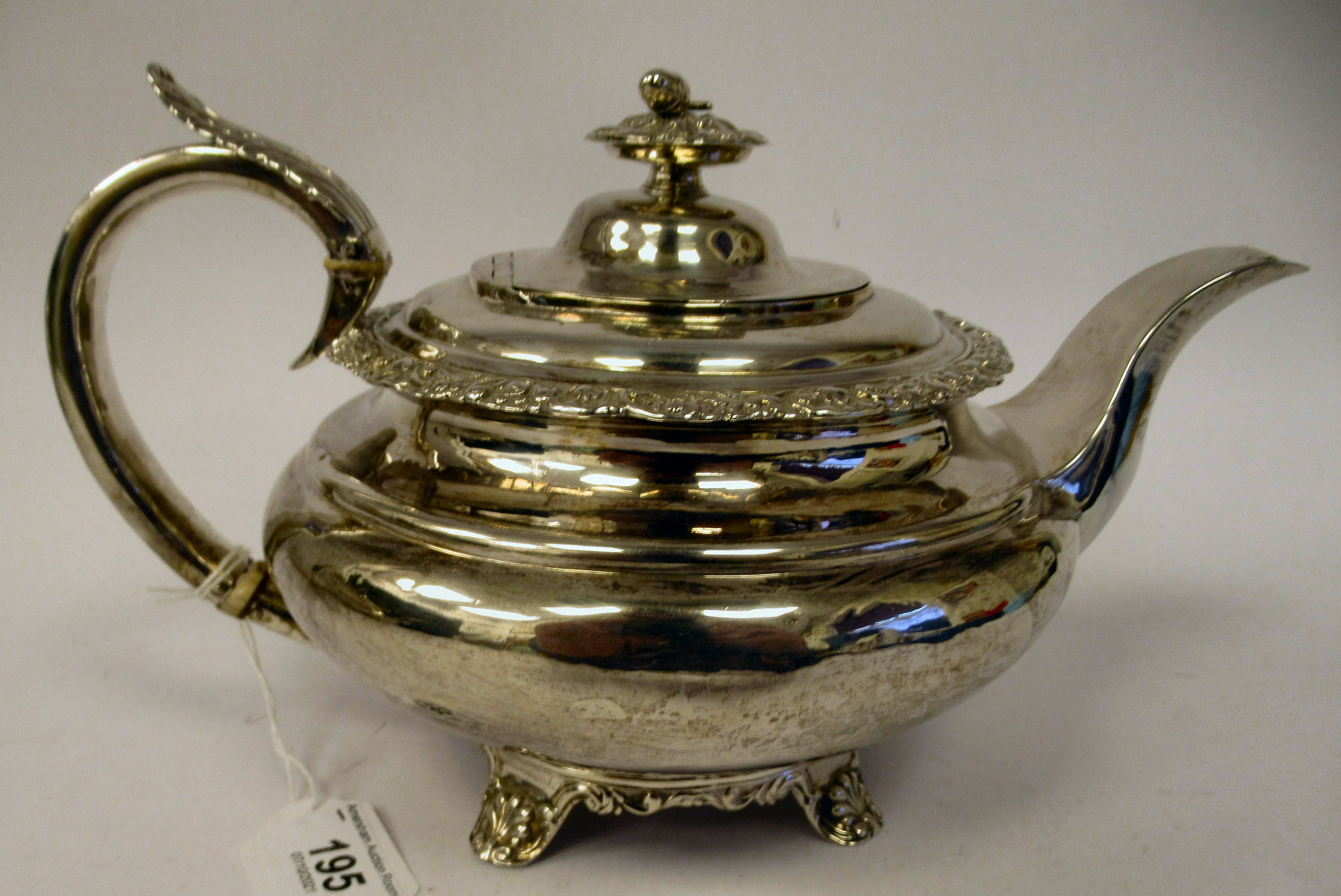 A George III silver teapot of demi-reeded squat, bulbous, oval form with gadrooned and cast - Image 3 of 7