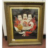 A late 19thC multi-coloured silk tapestry, depicting a version of the British Royal coat of arms,