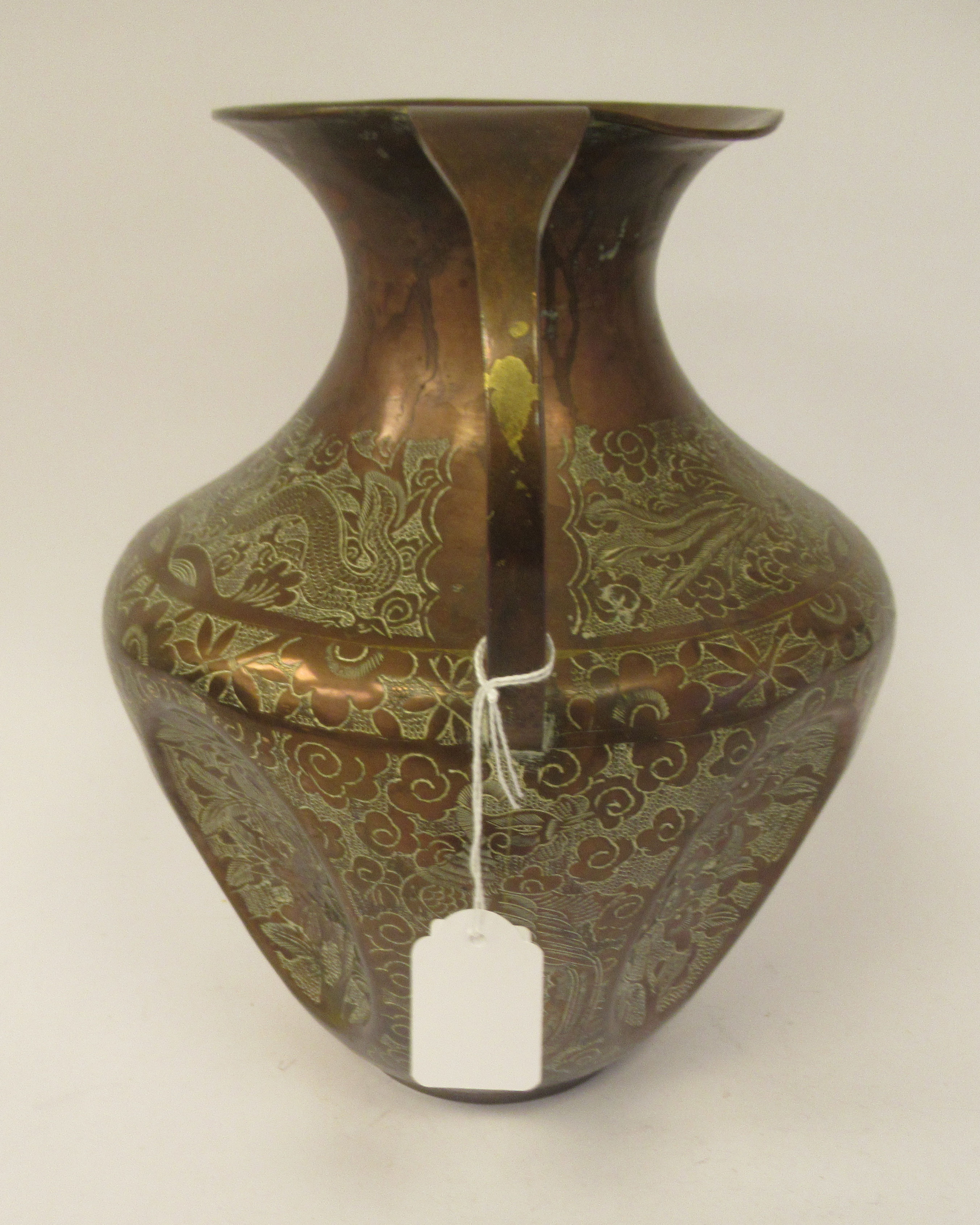 A late 19th/early 20thC Chinese copper vase of shouldered and dimpled baluster form, having a narrow - Image 2 of 9