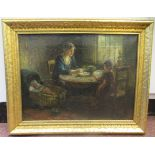 19thC Dutch School - a cottage interior, meal time with mother, child and baby in a criboil on