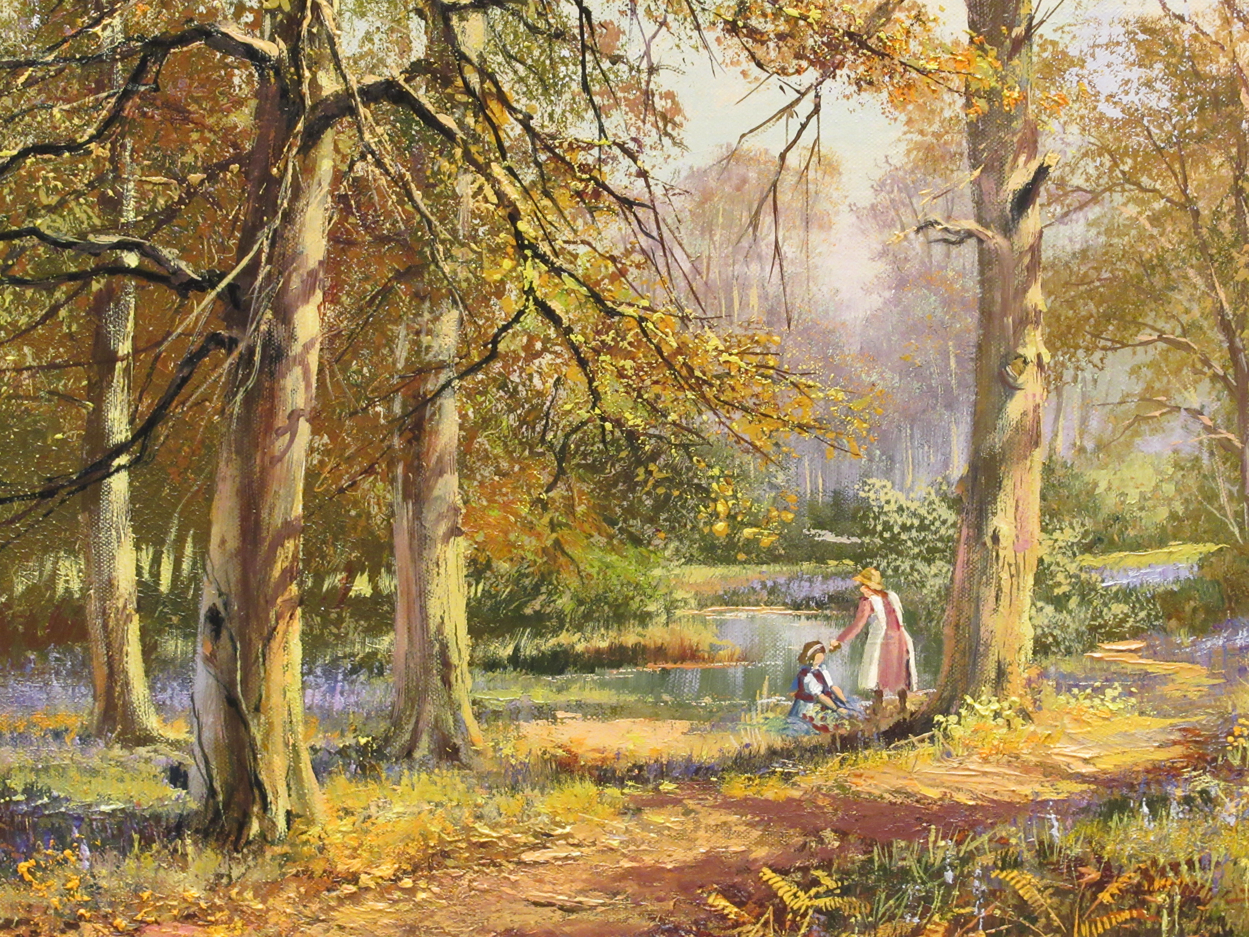 Don Vaughen - two girls by a pond in a woodland gladeoil on canvasbears a signature 15'' x 11'' - Image 2 of 4