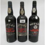 Wine, three bottles of Offley Vintage Port 1970, 1972 & 1977