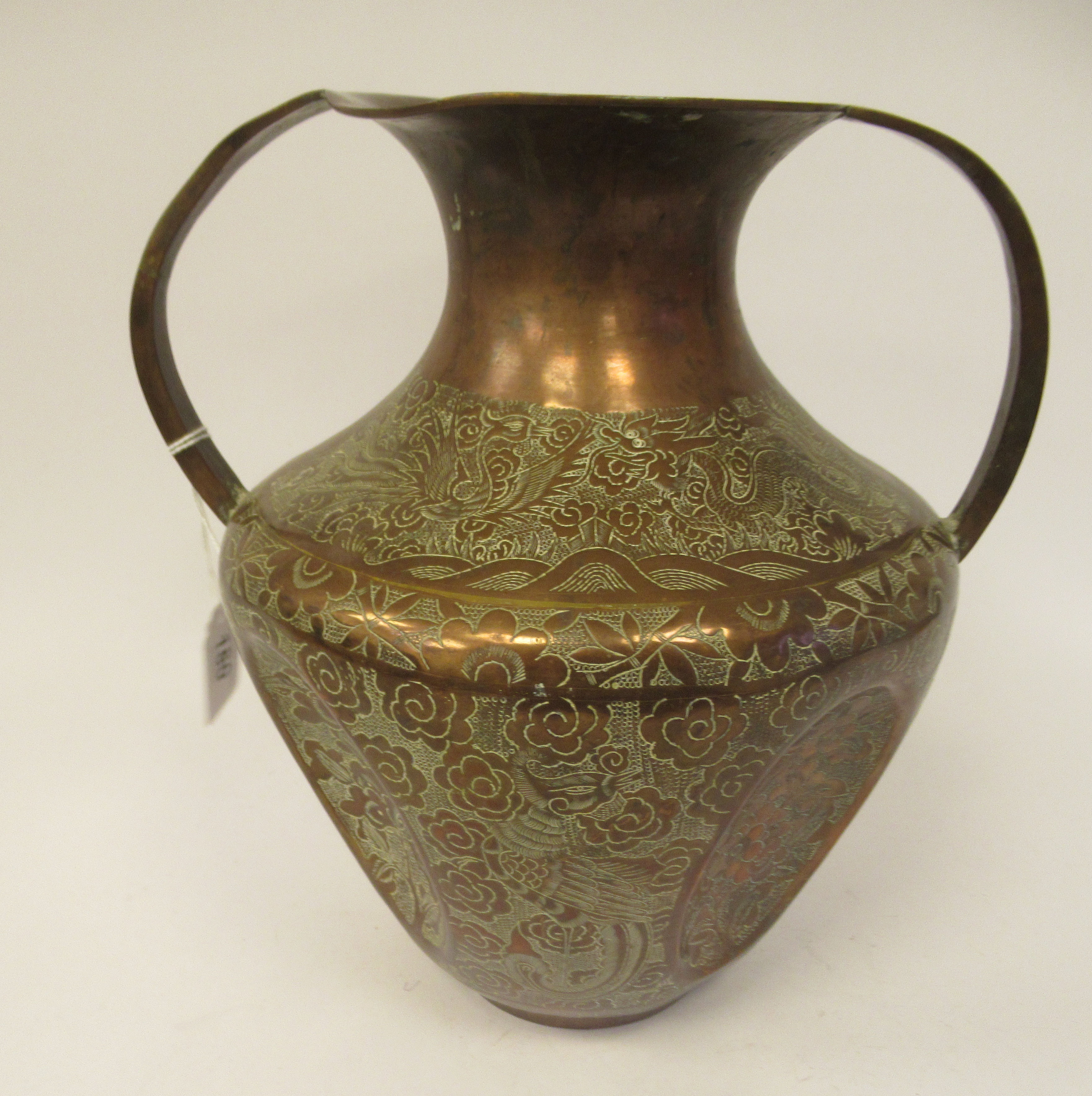 A late 19th/early 20thC Chinese copper vase of shouldered and dimpled baluster form, having a narrow - Image 3 of 9