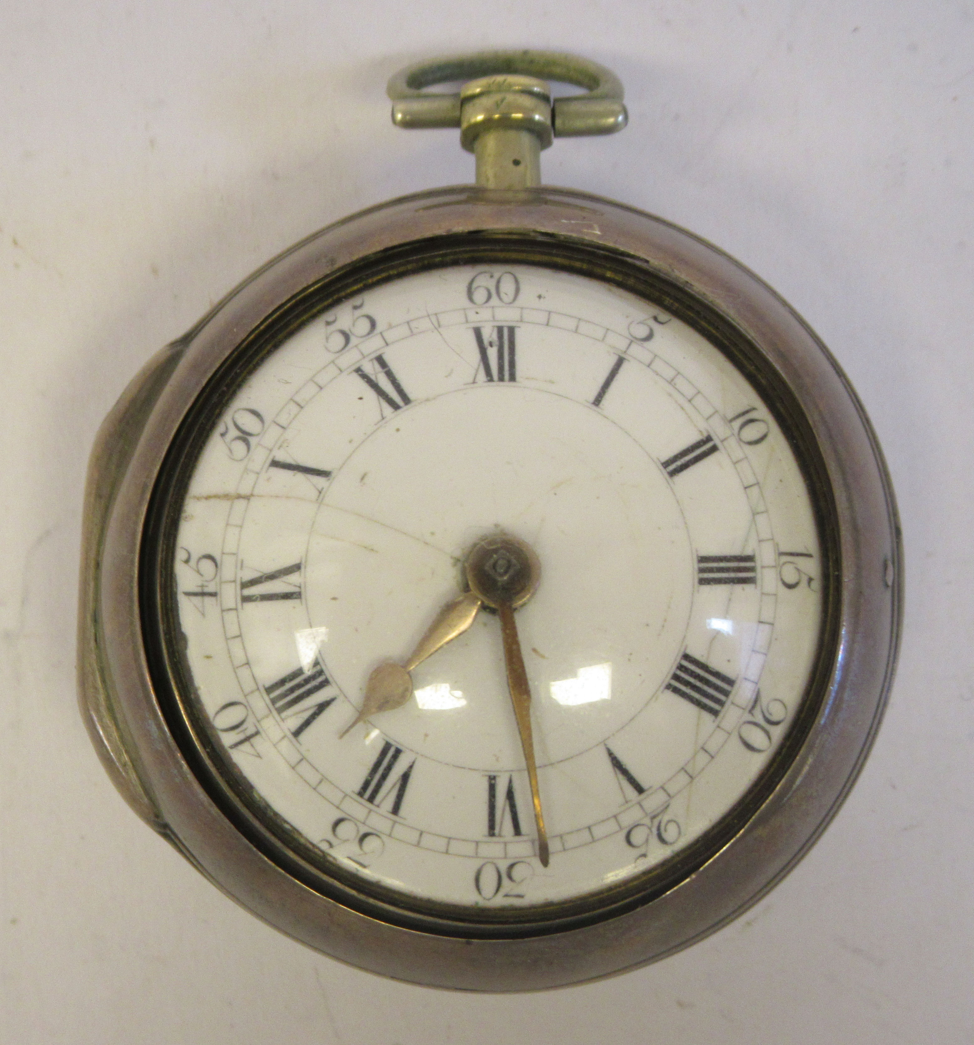 A late 18th silver pair cased pocket watch, the fusee movement inscribed John Grig, faced by a white