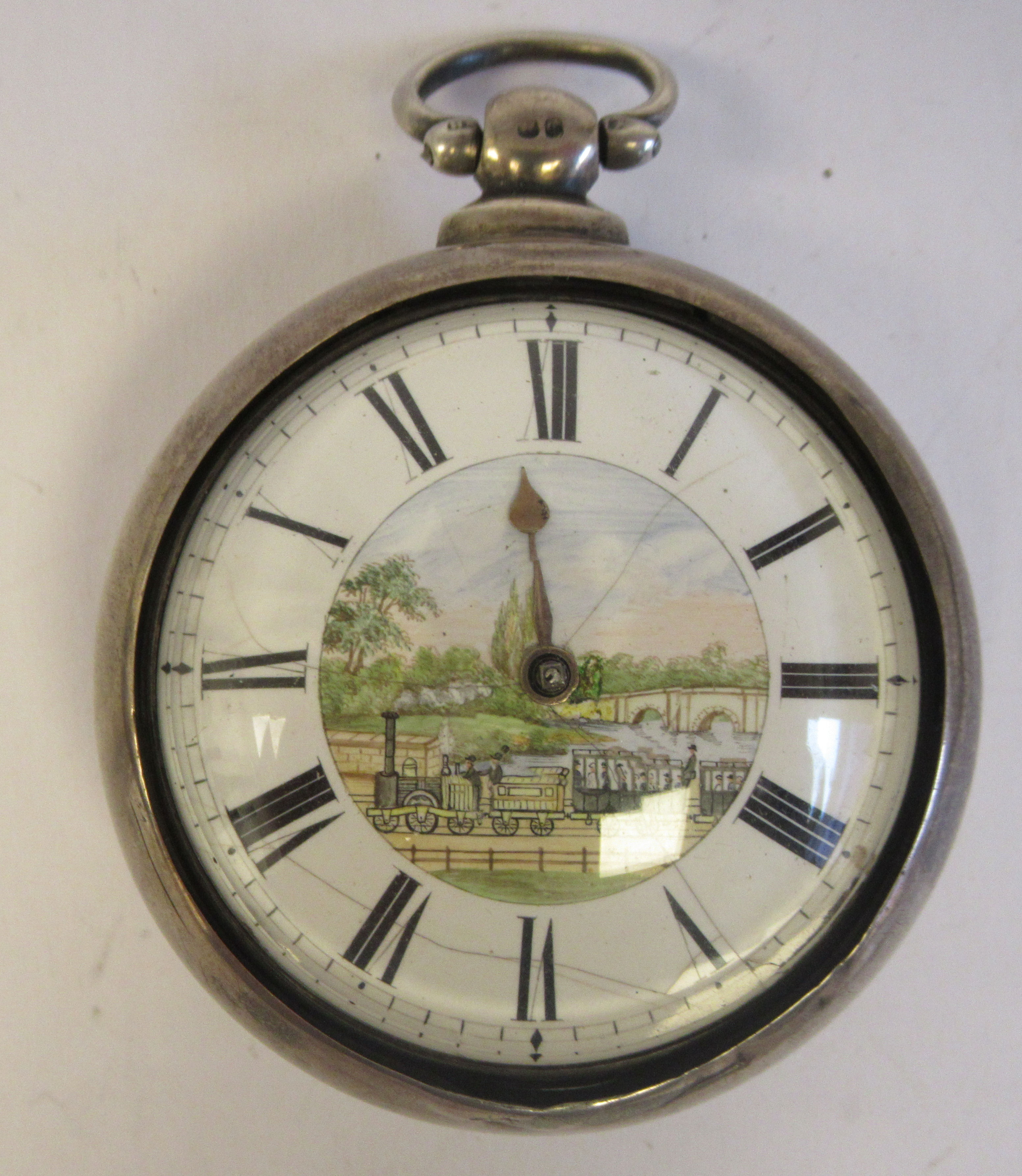A mid 18thC silver pair cased pocket watch, the fusee movement faced by a white enamel Roman dial,