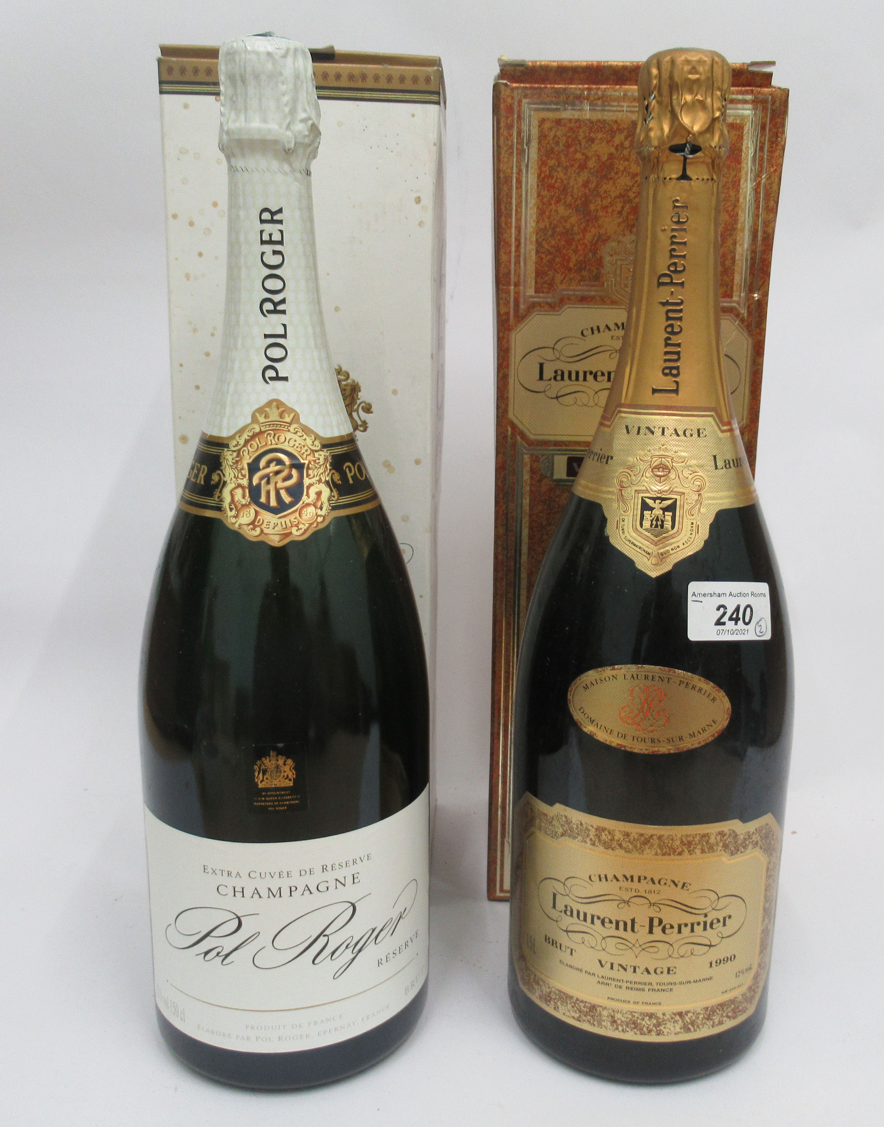 Wine, two magnums of Champagne, viz. a 1990 Laurent Perrier; and a Pol Roger Extra Cuvee Reserve