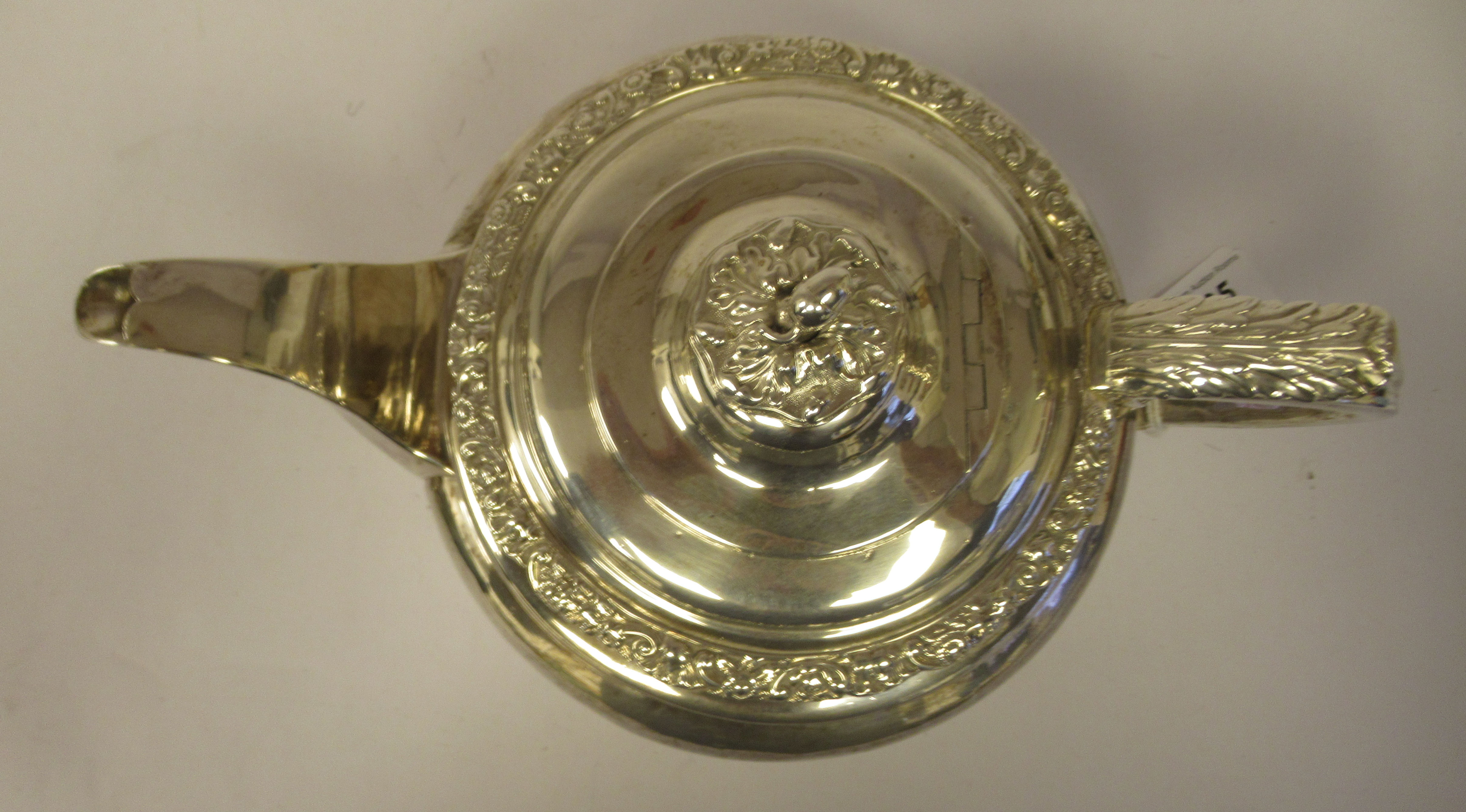 A George III silver teapot of demi-reeded squat, bulbous, oval form with gadrooned and cast - Image 5 of 7