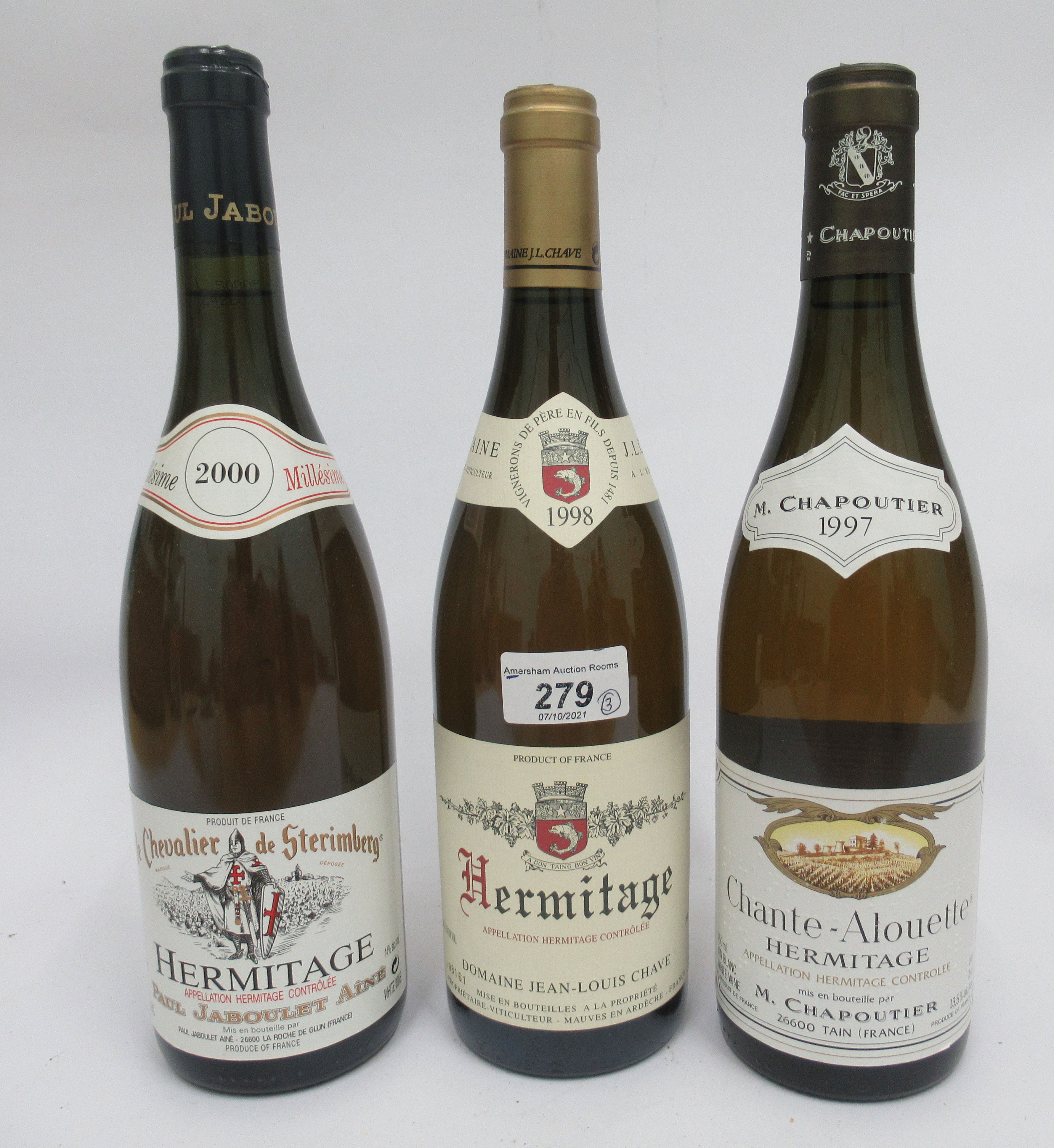 Wine, viz. a 1998 Hermitage Domaine Jean-Louis Chave; a 2000 Hermitage; and a 1997 Chante-Alouette