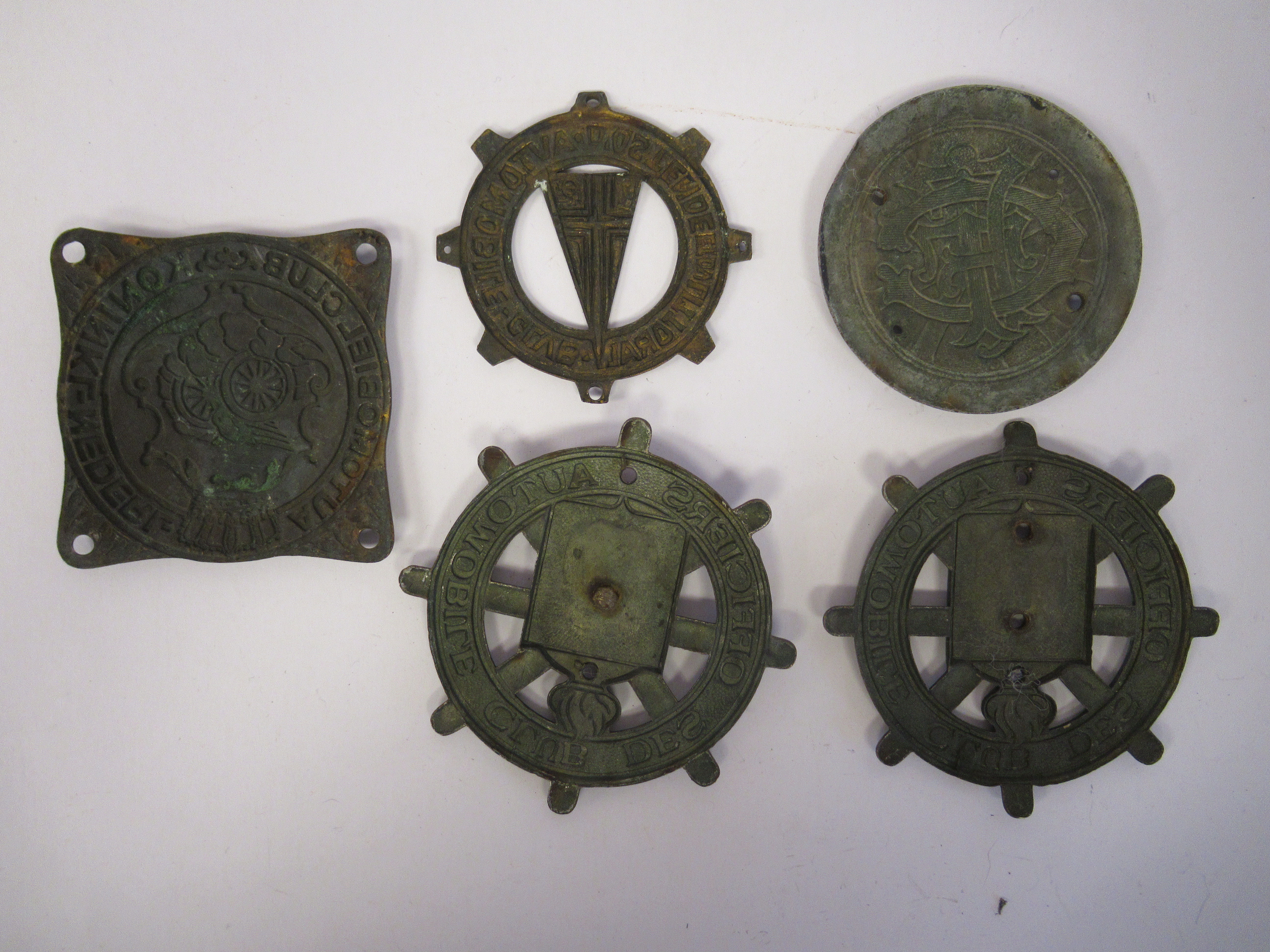 Five early 20thC Continental European coloured enamel motoring related badges; and a car mascot - Image 7 of 7
