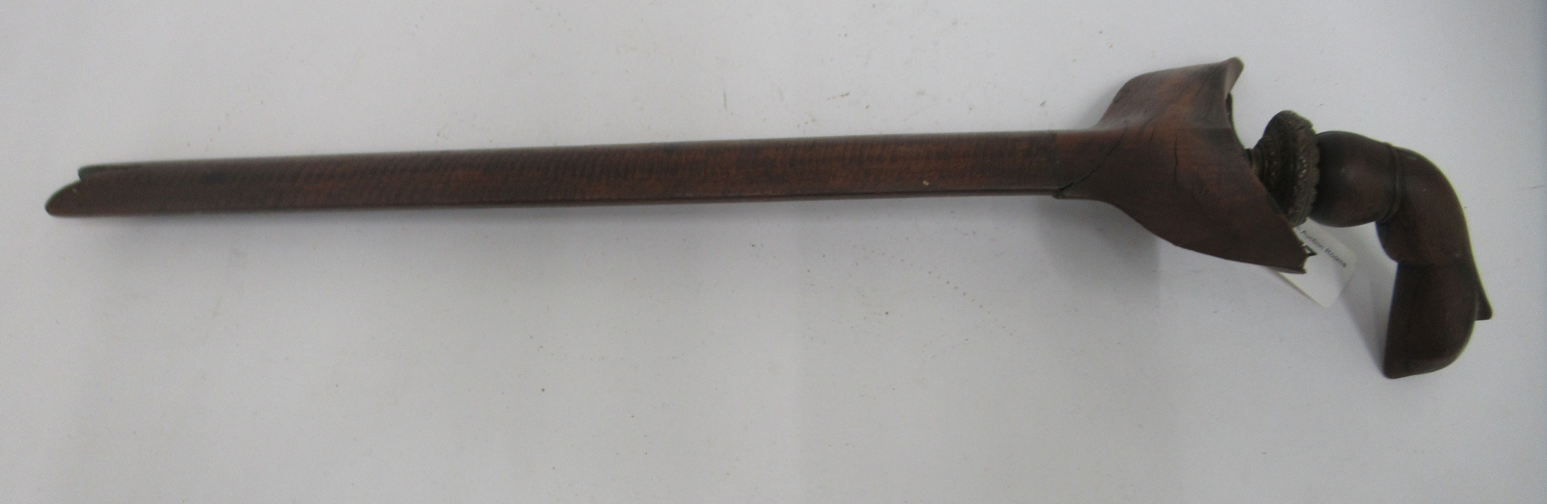 """A mid 19thC Malay Kris with a carved fruitwood handle and scabbard the Damascus blade 14.5""""L - Image 3 of 6"""