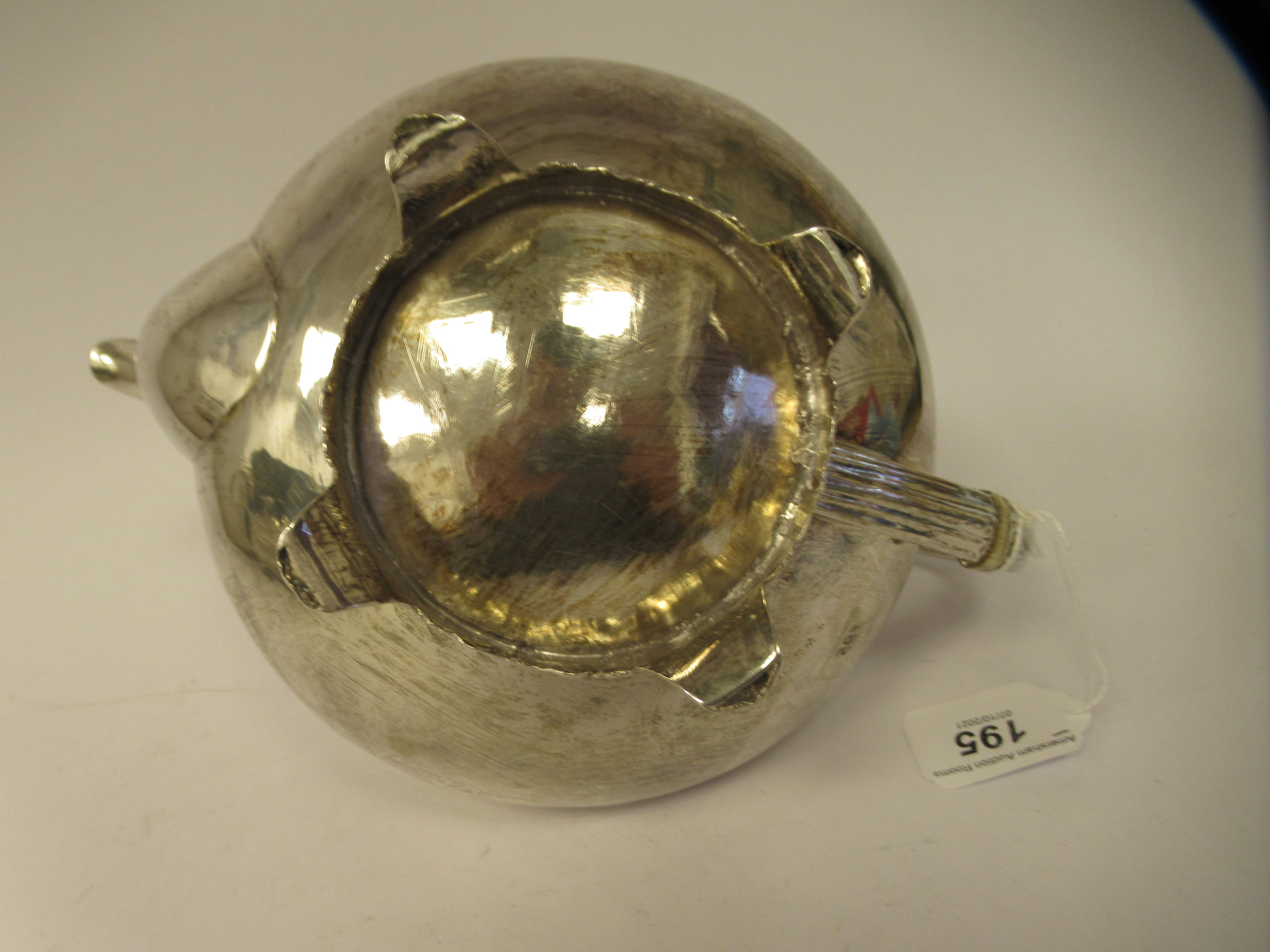 A George III silver teapot of demi-reeded squat, bulbous, oval form with gadrooned and cast - Image 6 of 7