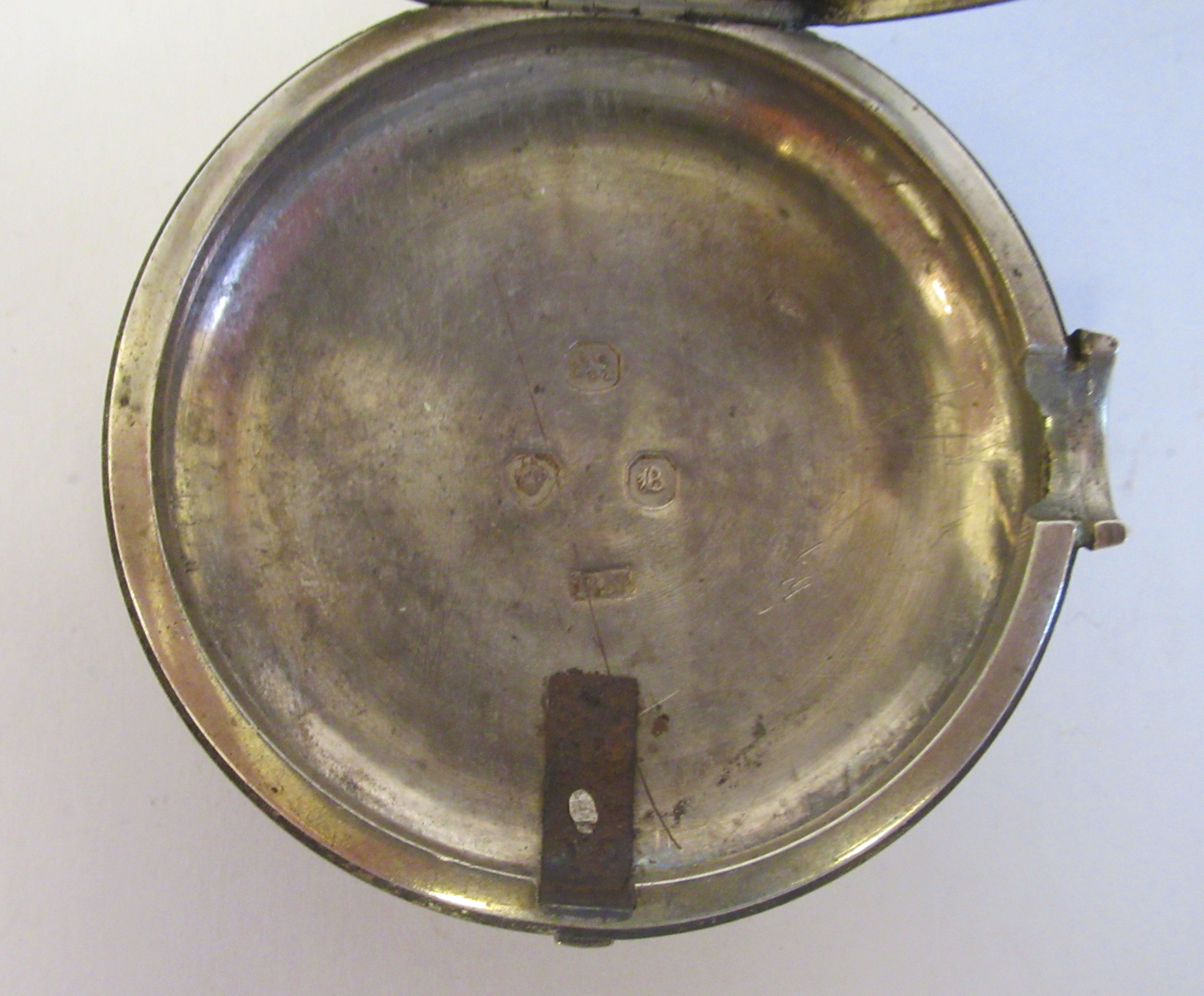 A mid 18thC silver pair cased pocket watch, the fusee movement faced by a white enamel Roman dial, - Image 6 of 7