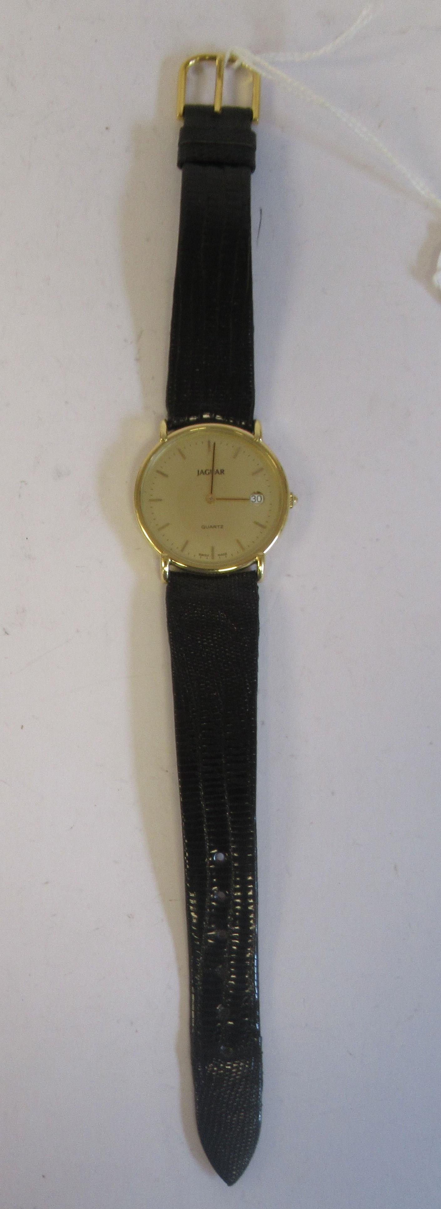 A 1980s Jaguar 18ct gold cased model J505CH quartz wristwatch (cal ETA 955-54) faced by a baton - Image 3 of 6