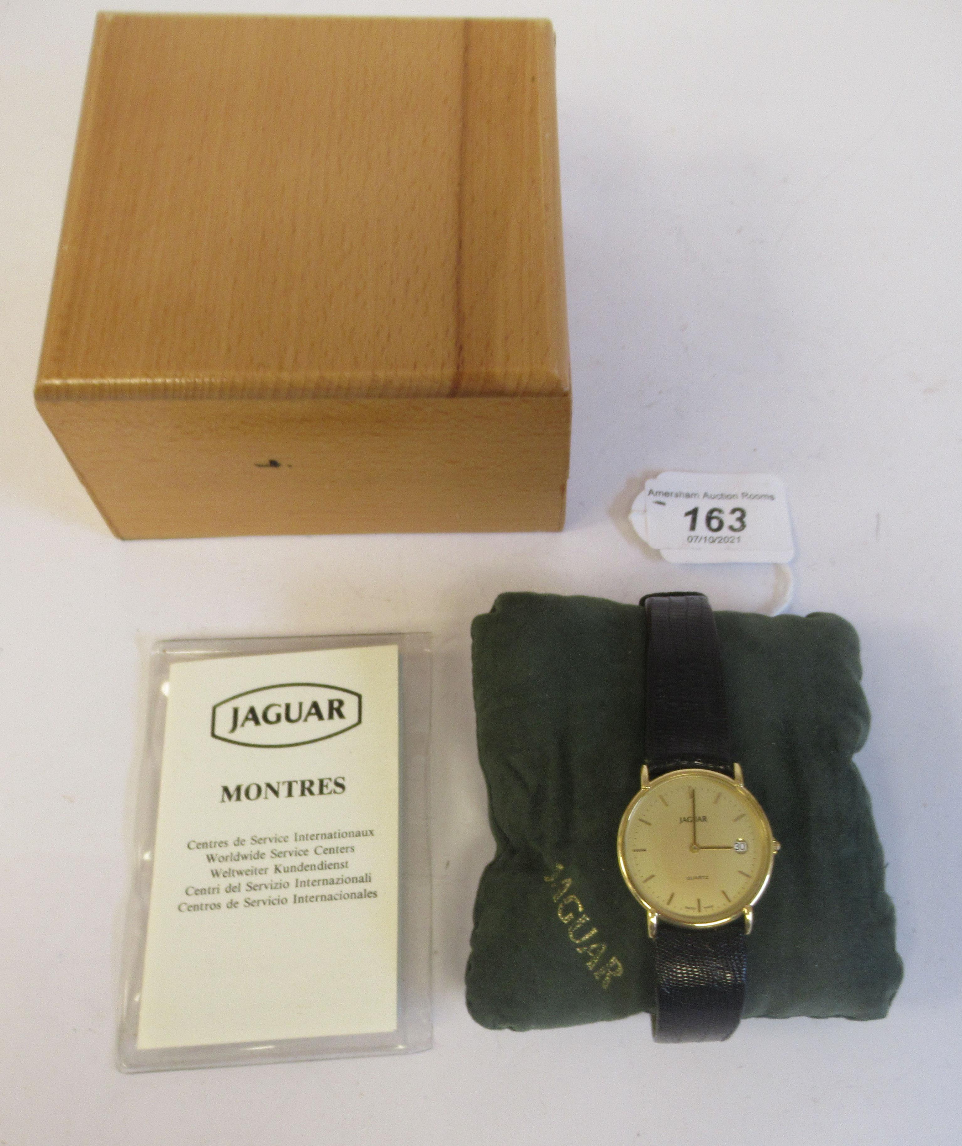 A 1980s Jaguar 18ct gold cased model J505CH quartz wristwatch (cal ETA 955-54) faced by a baton - Image 2 of 6