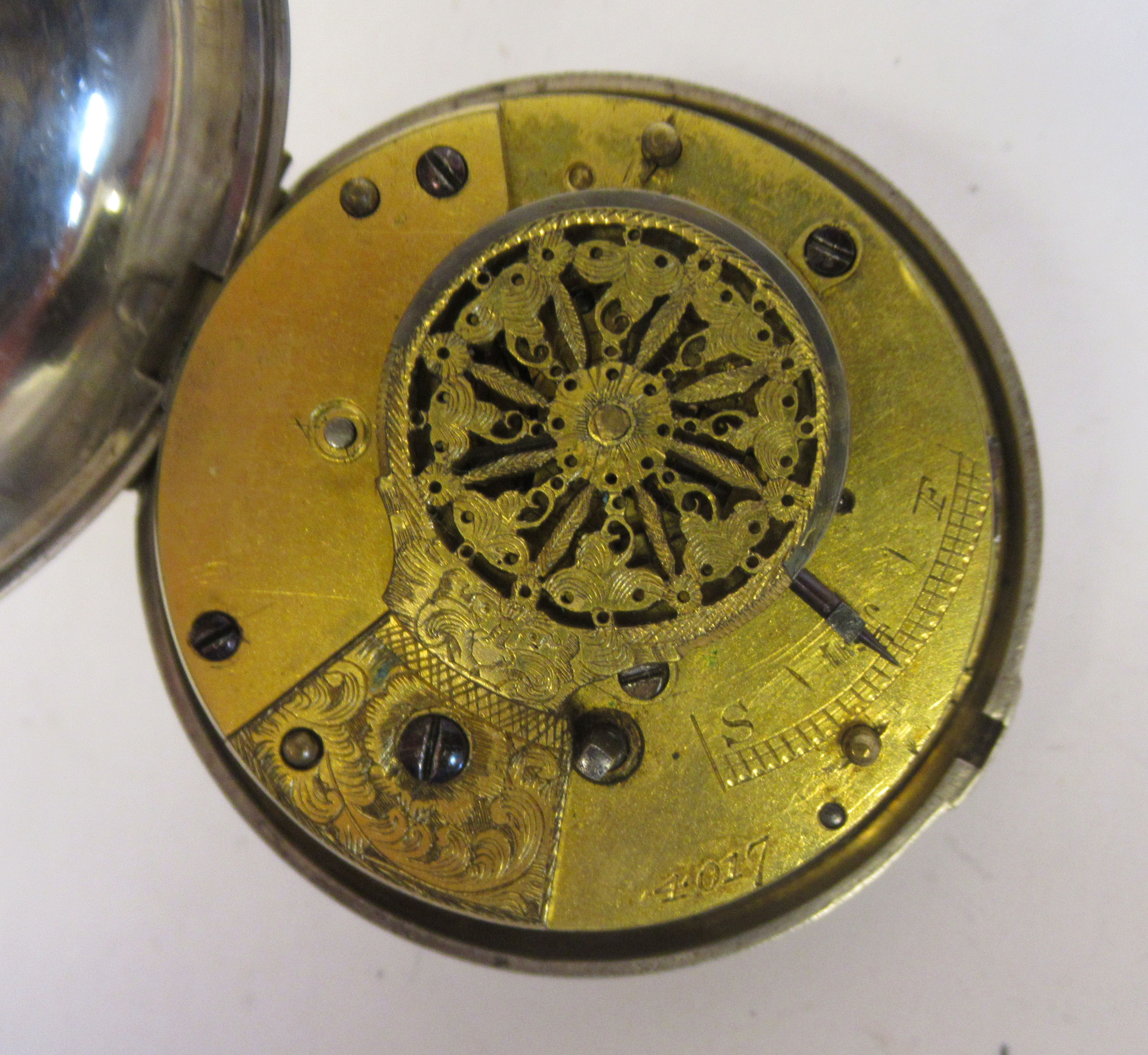 A mid 18thC silver pair cased pocket watch, the fusee movement faced by a white enamel Roman dial, - Image 4 of 7
