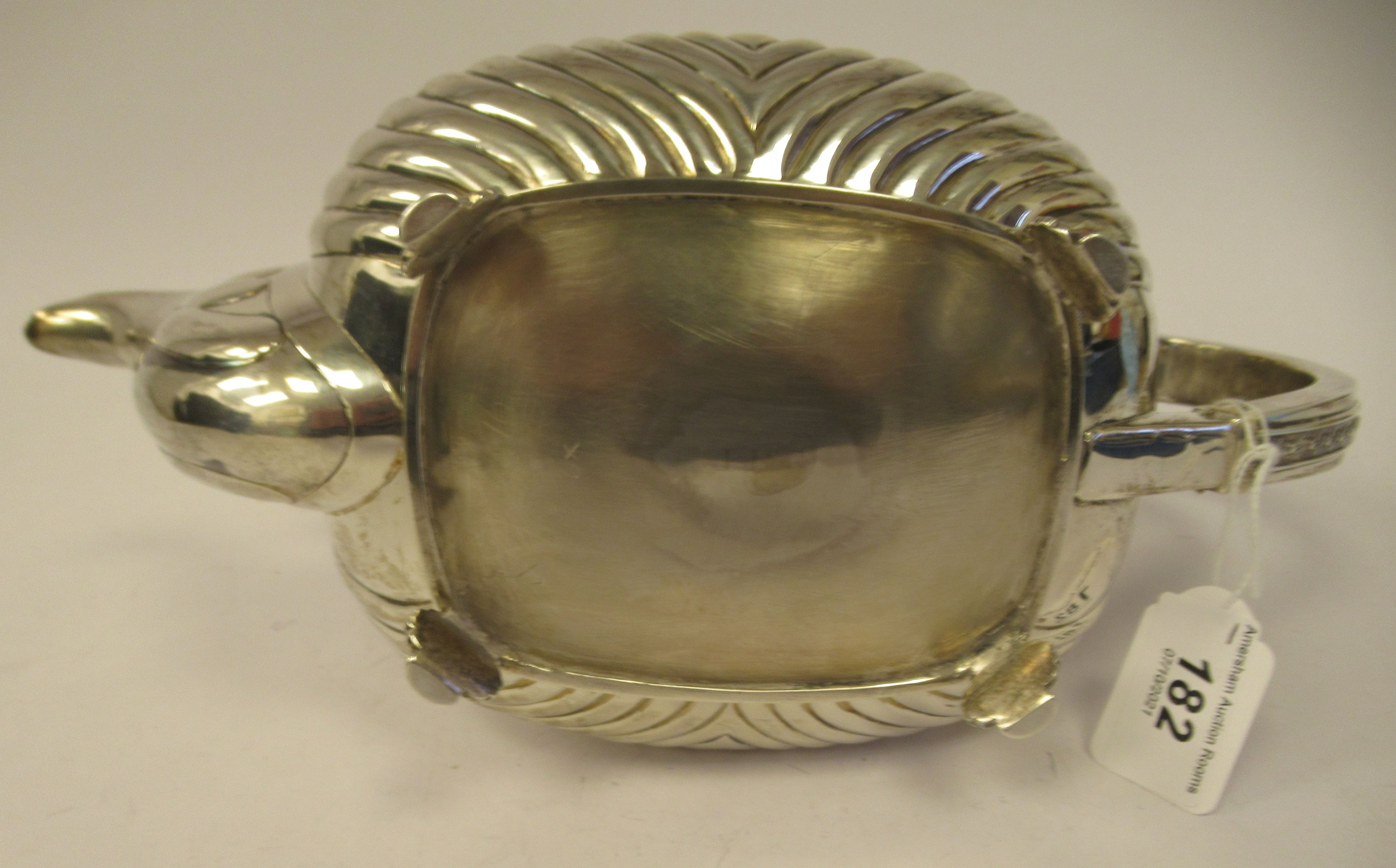 A George III silver teapot of squat, bulbous circular form with floral and foliate cast ornament, - Image 6 of 7