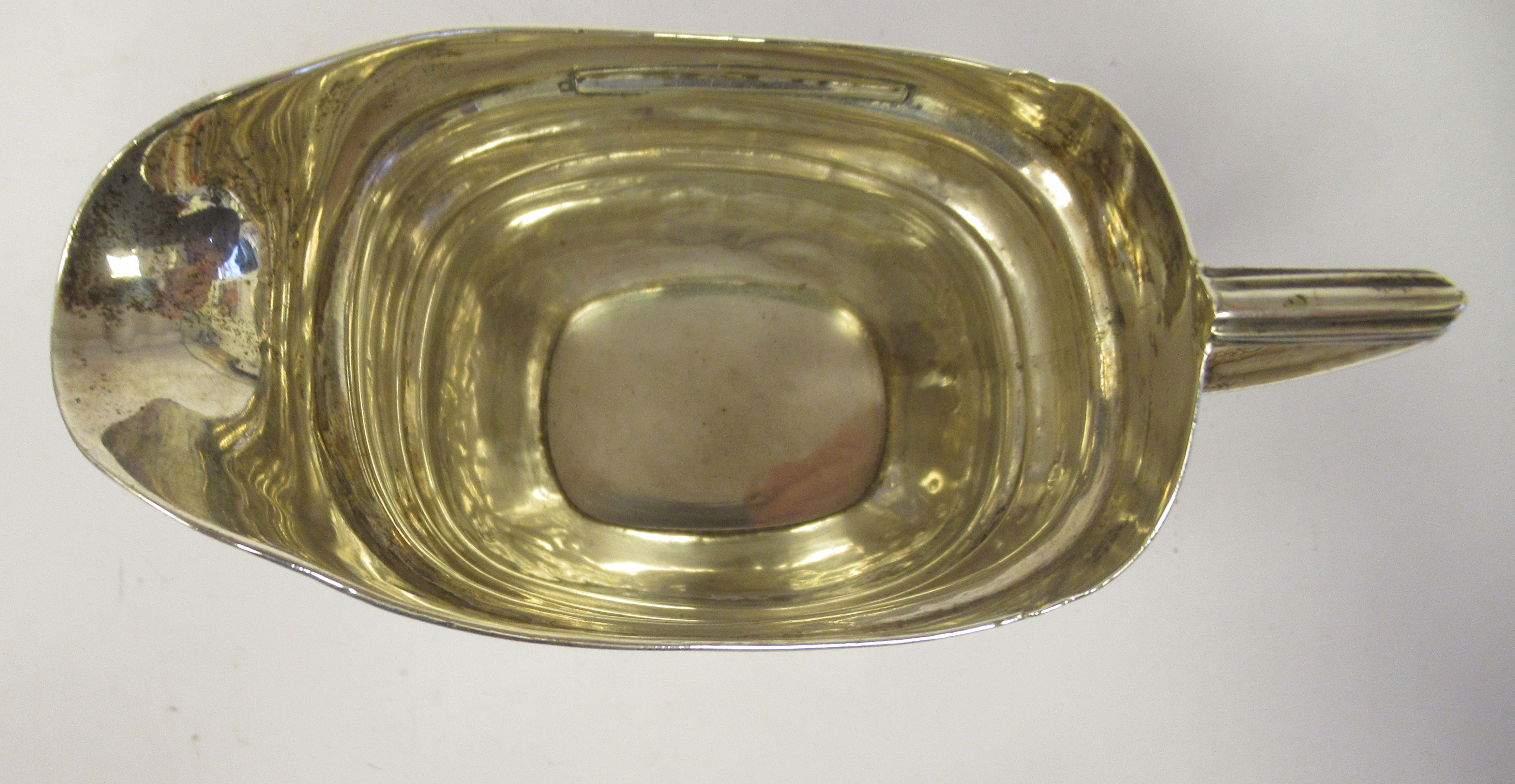 A late 18th/early 19thC silver cream jug of stepped and tapered rectangular outline with bands of - Image 5 of 7