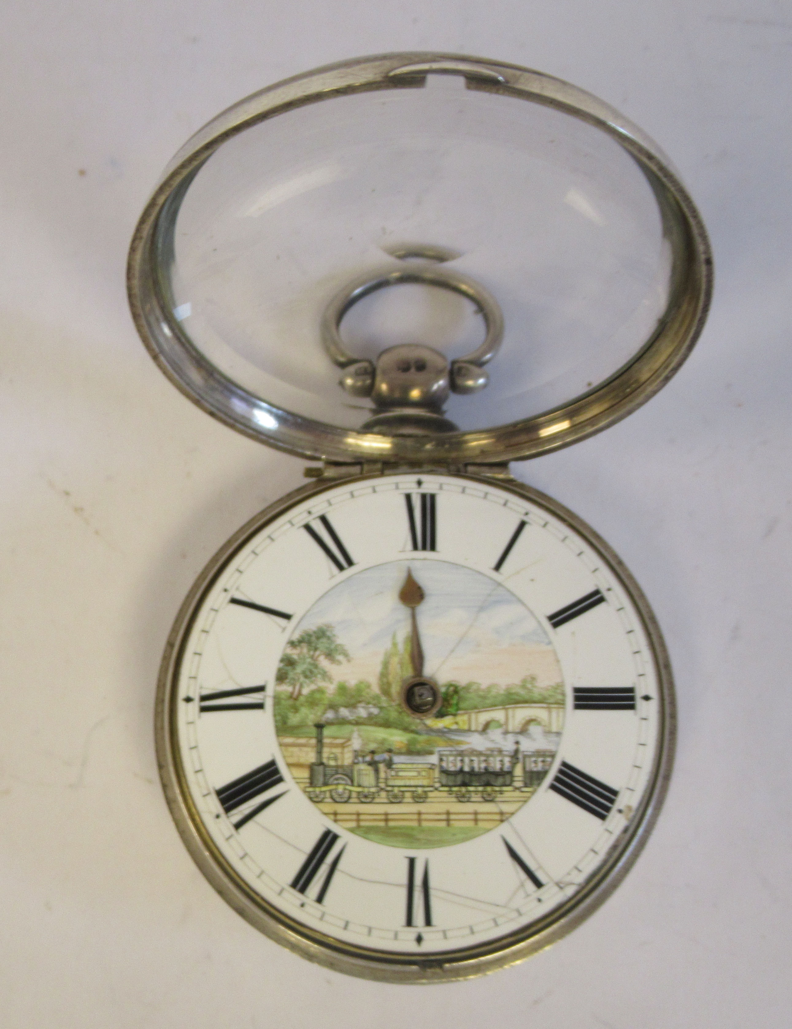 A mid 18thC silver pair cased pocket watch, the fusee movement faced by a white enamel Roman dial, - Image 3 of 7